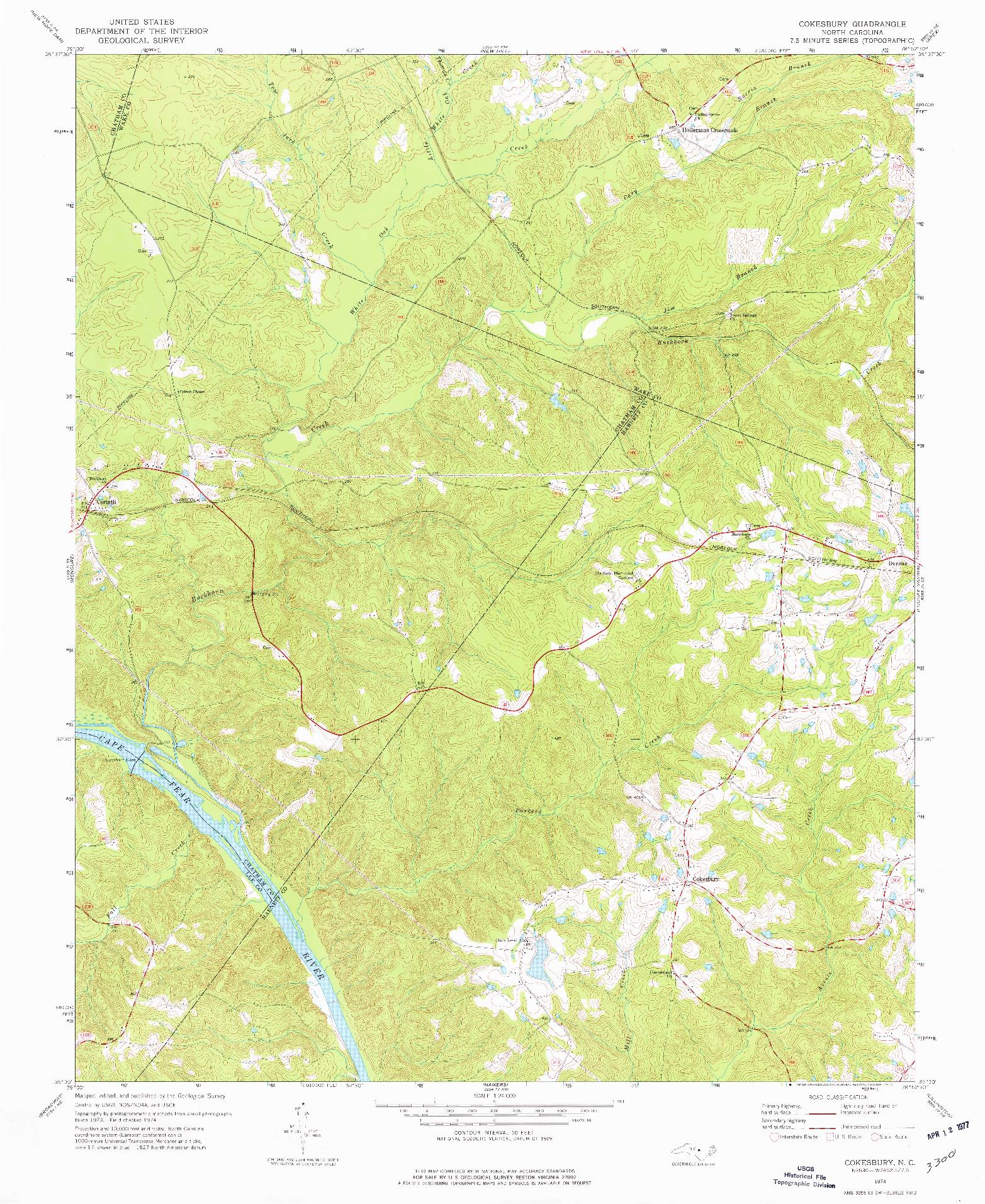 USGS 1:24000-SCALE QUADRANGLE FOR COKESBURY, NC 1974