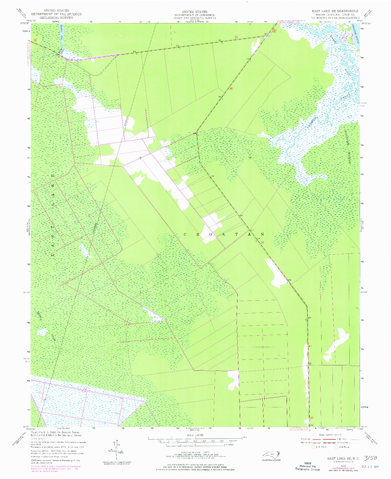 USGS 1:24000-SCALE QUADRANGLE FOR EAST LAKE SE, NC 1953