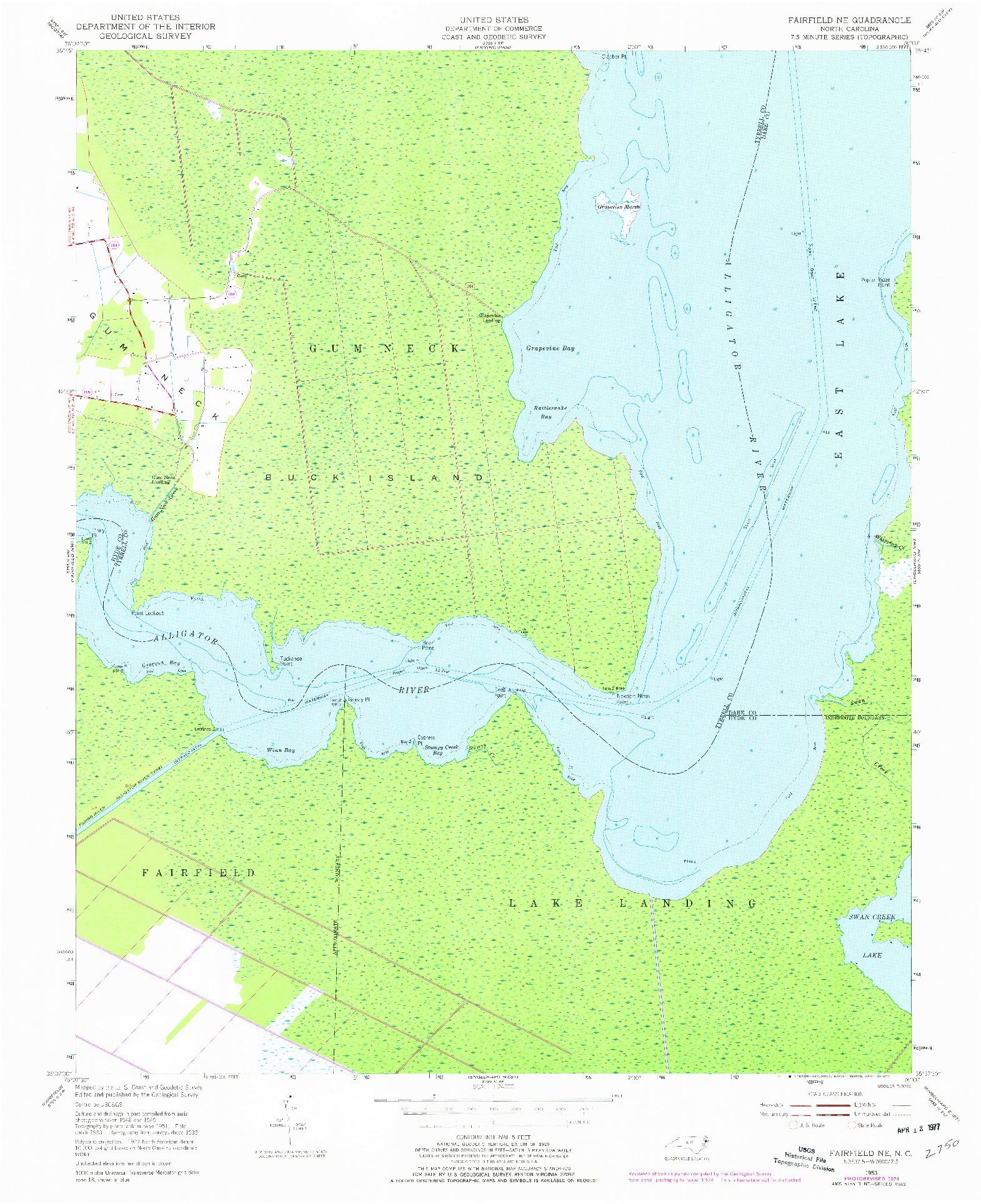 USGS 1:24000-SCALE QUADRANGLE FOR FAIRFIELD NE, NC 1953