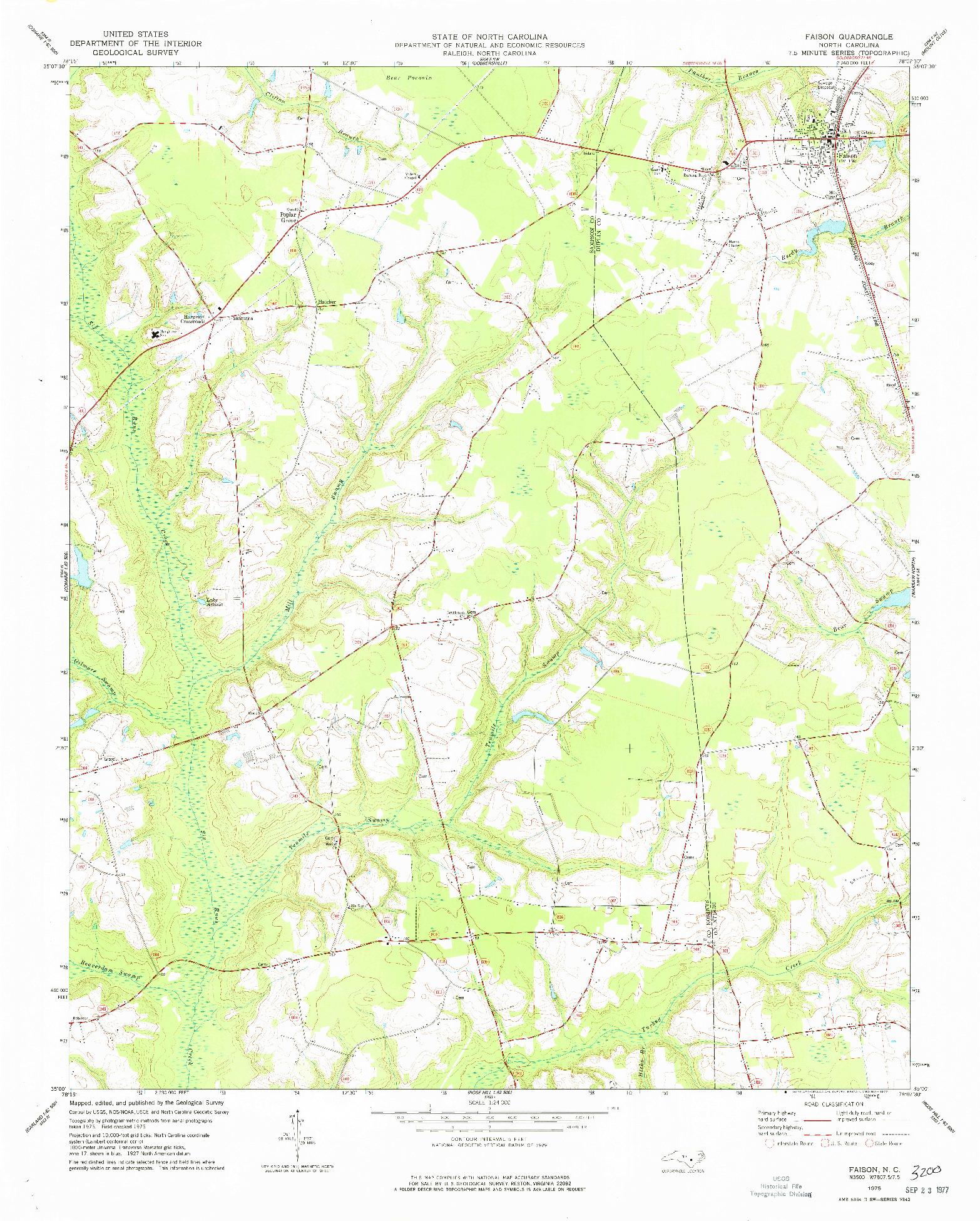USGS 1:24000-SCALE QUADRANGLE FOR FAISON, NC 1975