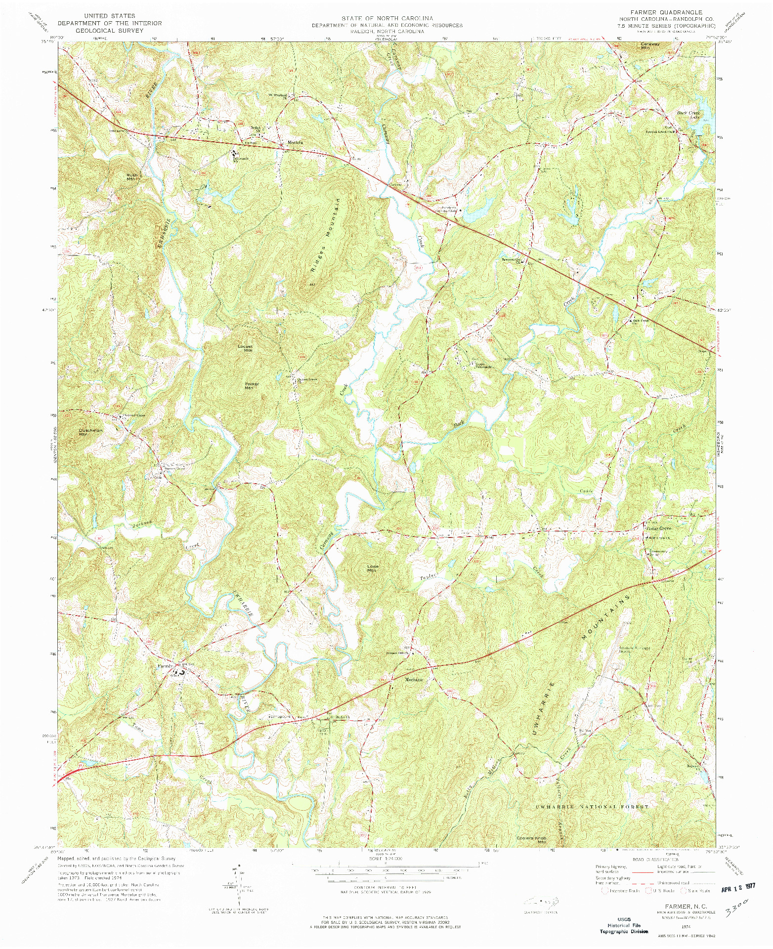 USGS 1:24000-SCALE QUADRANGLE FOR FARMER, NC 1974