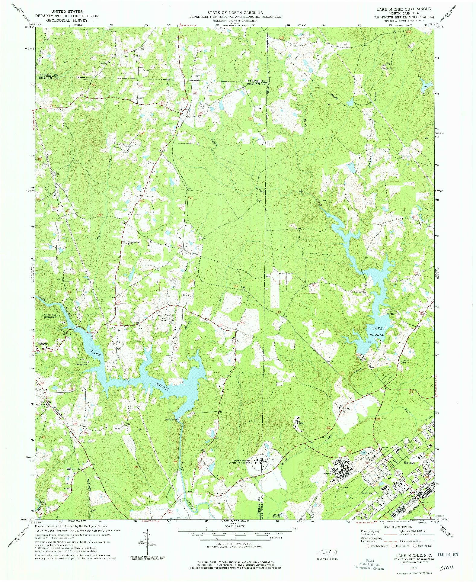 USGS 1:24000-SCALE QUADRANGLE FOR LAKE MICHIE, NC 1977