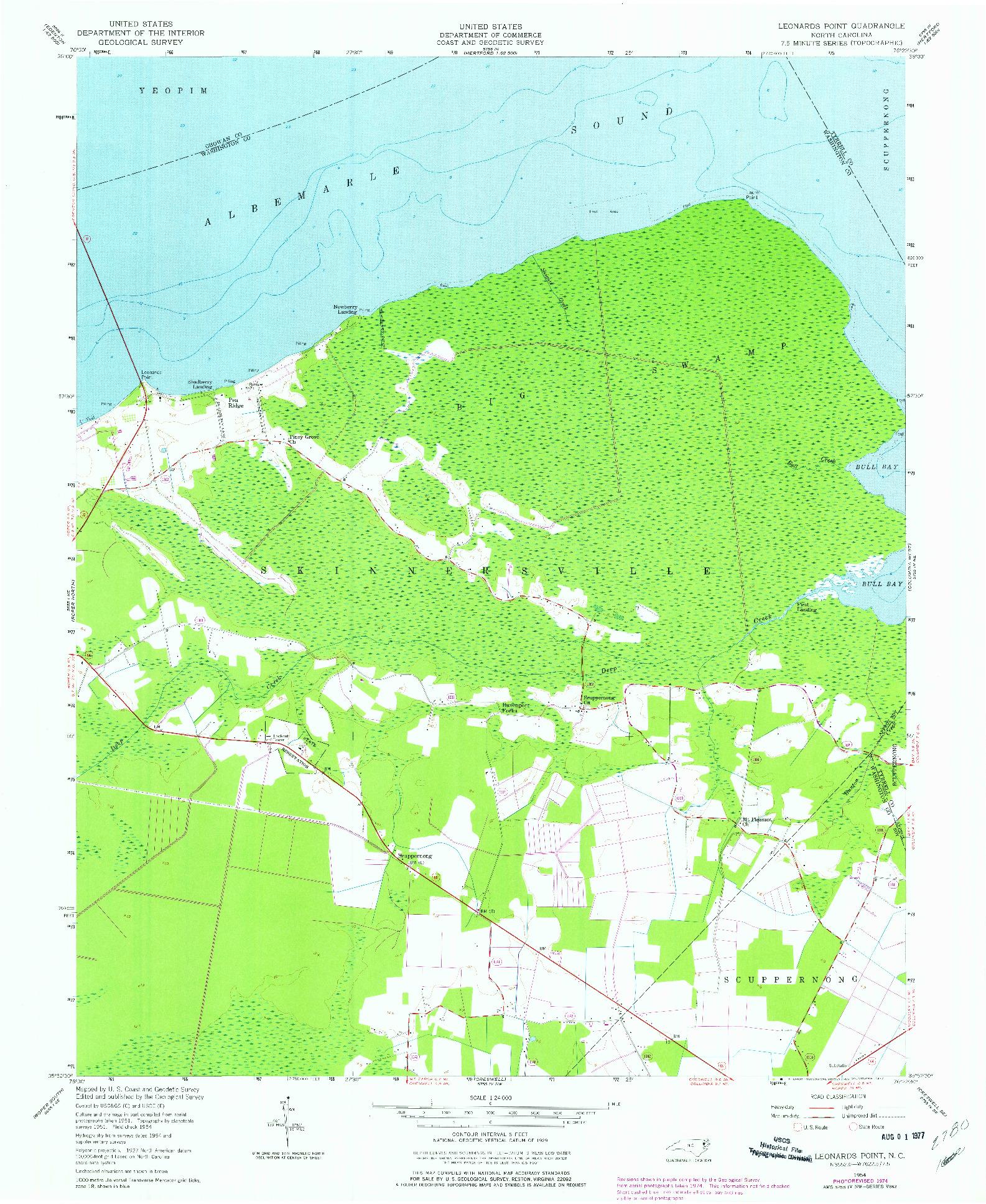 USGS 1:24000-SCALE QUADRANGLE FOR LEONARDS POINT, NC 1954