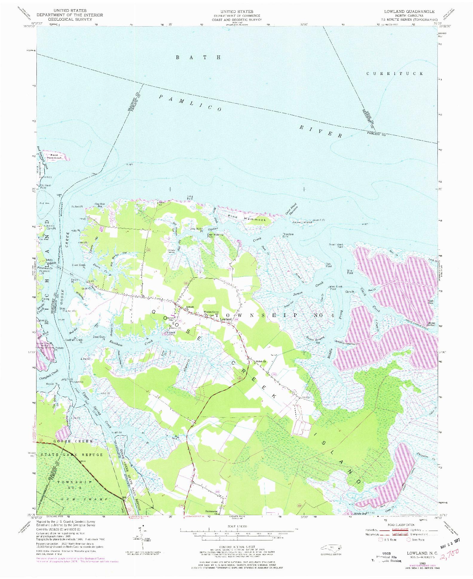 USGS 1:24000-SCALE QUADRANGLE FOR LOWLAND, NC 1950