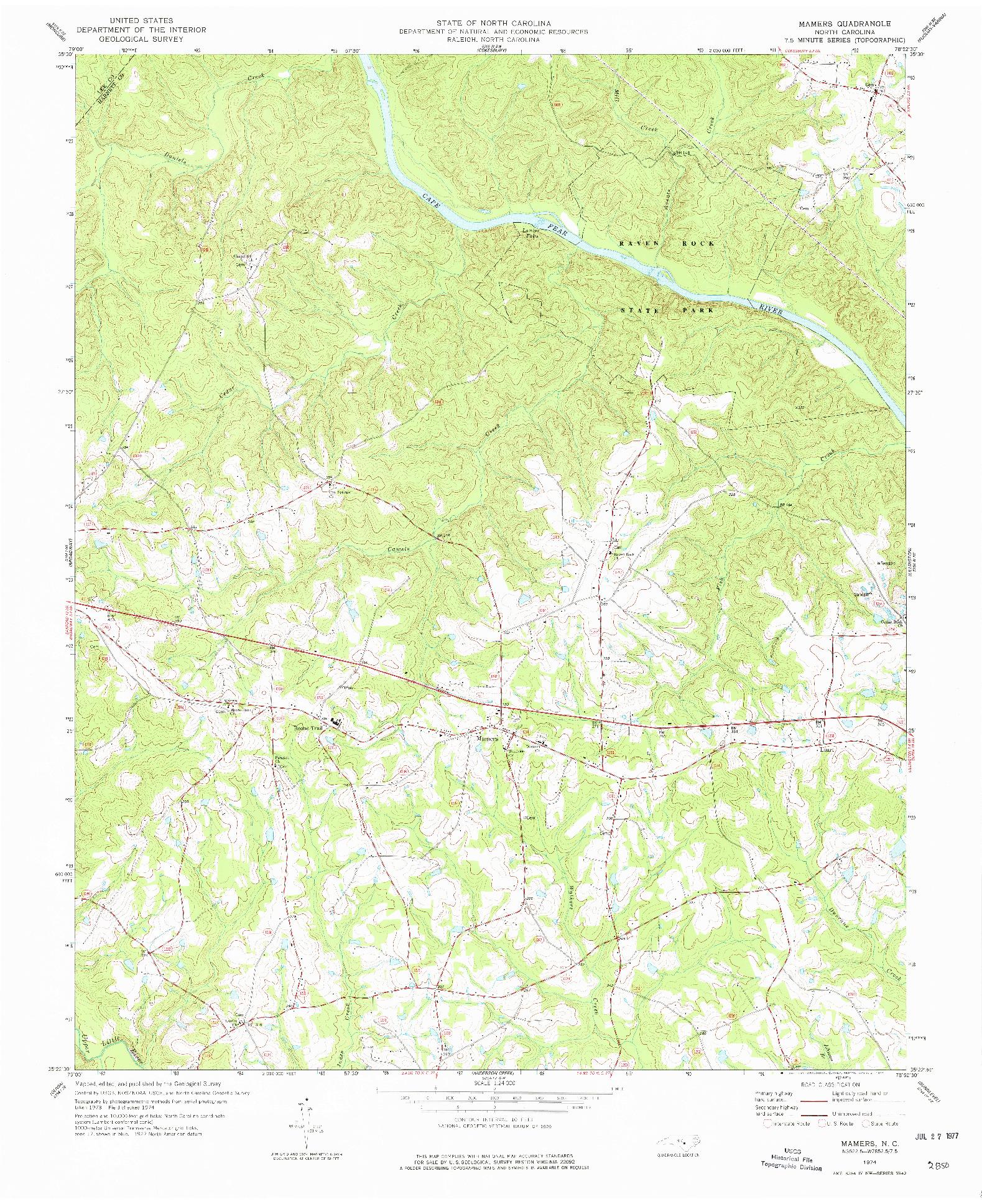 USGS 1:24000-SCALE QUADRANGLE FOR MAMERS, NC 1974
