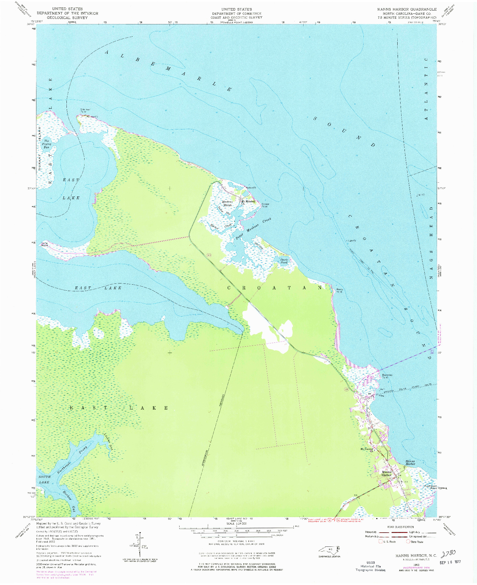 USGS 1:24000-SCALE QUADRANGLE FOR MANNS HARBOR, NC 1953