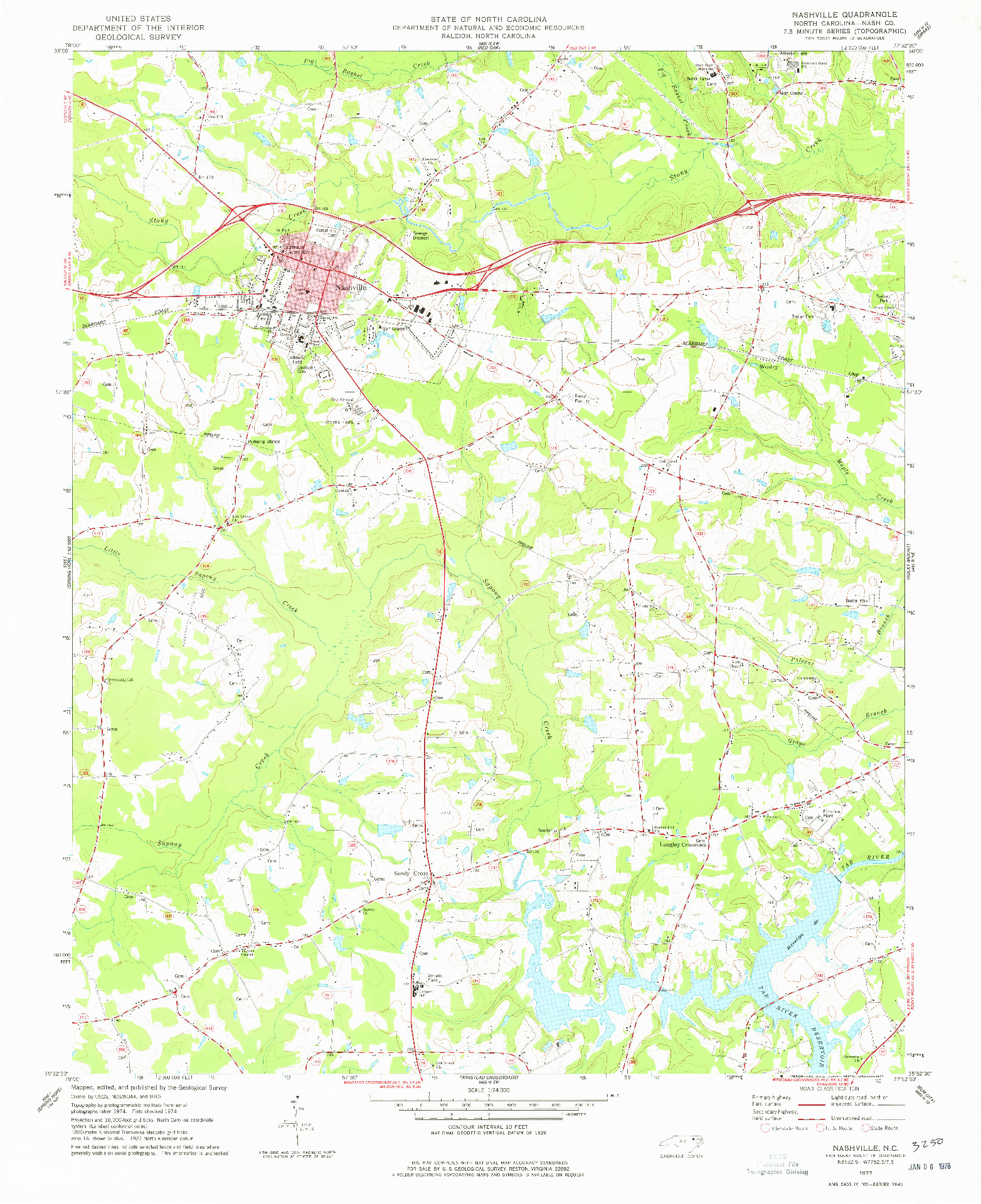 USGS 1:24000-SCALE QUADRANGLE FOR NASHVILLE, NC 1977