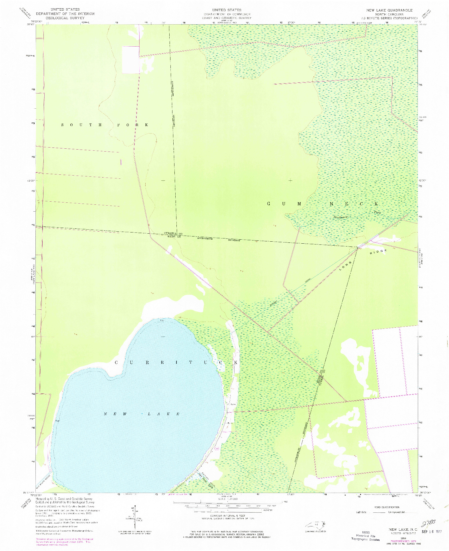 USGS 1:24000-SCALE QUADRANGLE FOR NEW LAKE, NC 1954