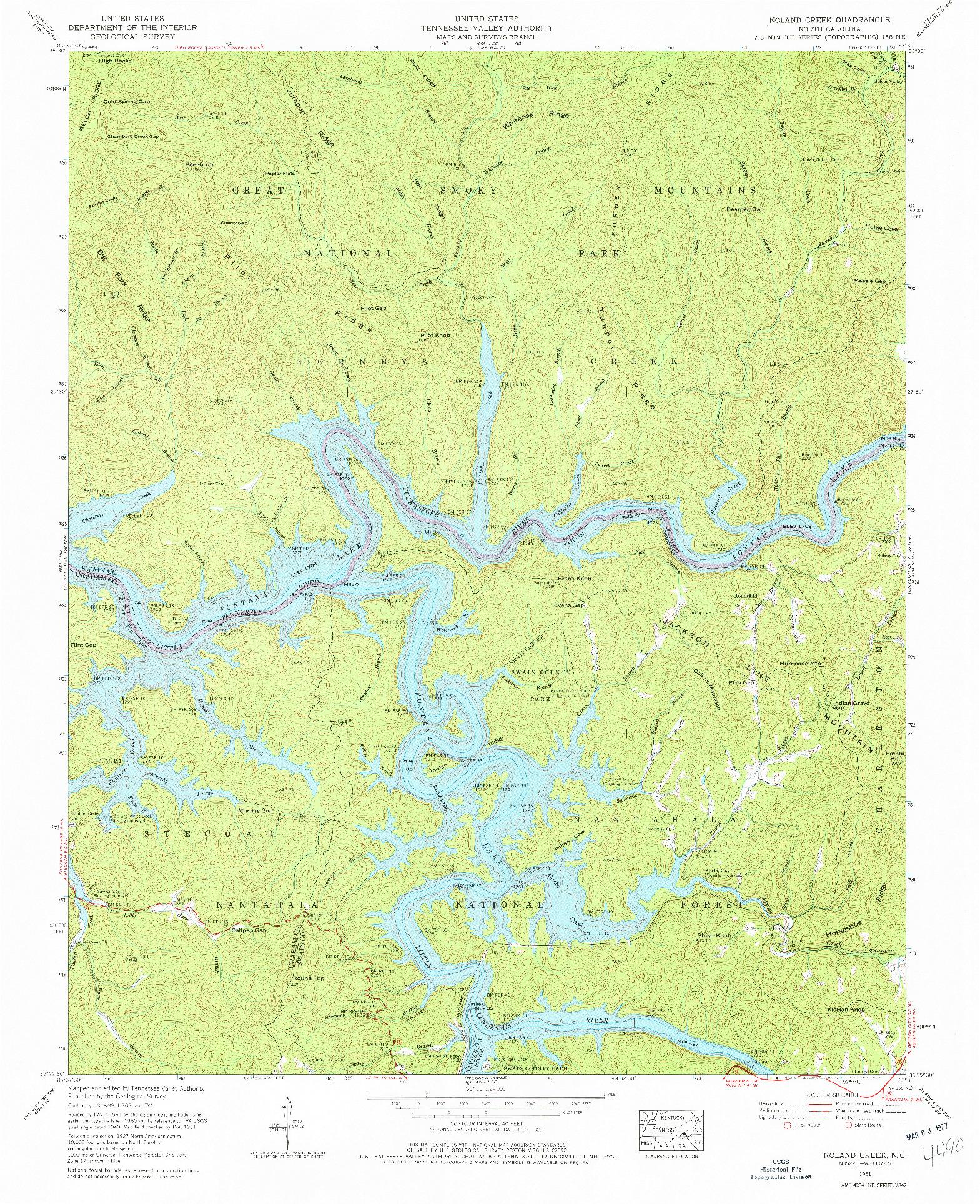 USGS 1:24000-SCALE QUADRANGLE FOR NOLAND CREEK, NC 1961