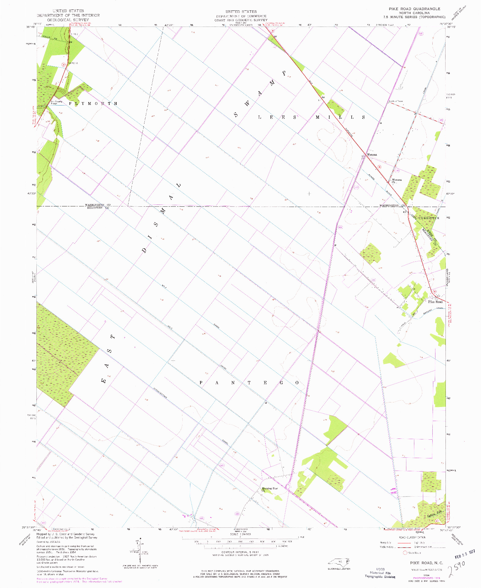 USGS 1:24000-SCALE QUADRANGLE FOR PIKE ROAD, NC 1954