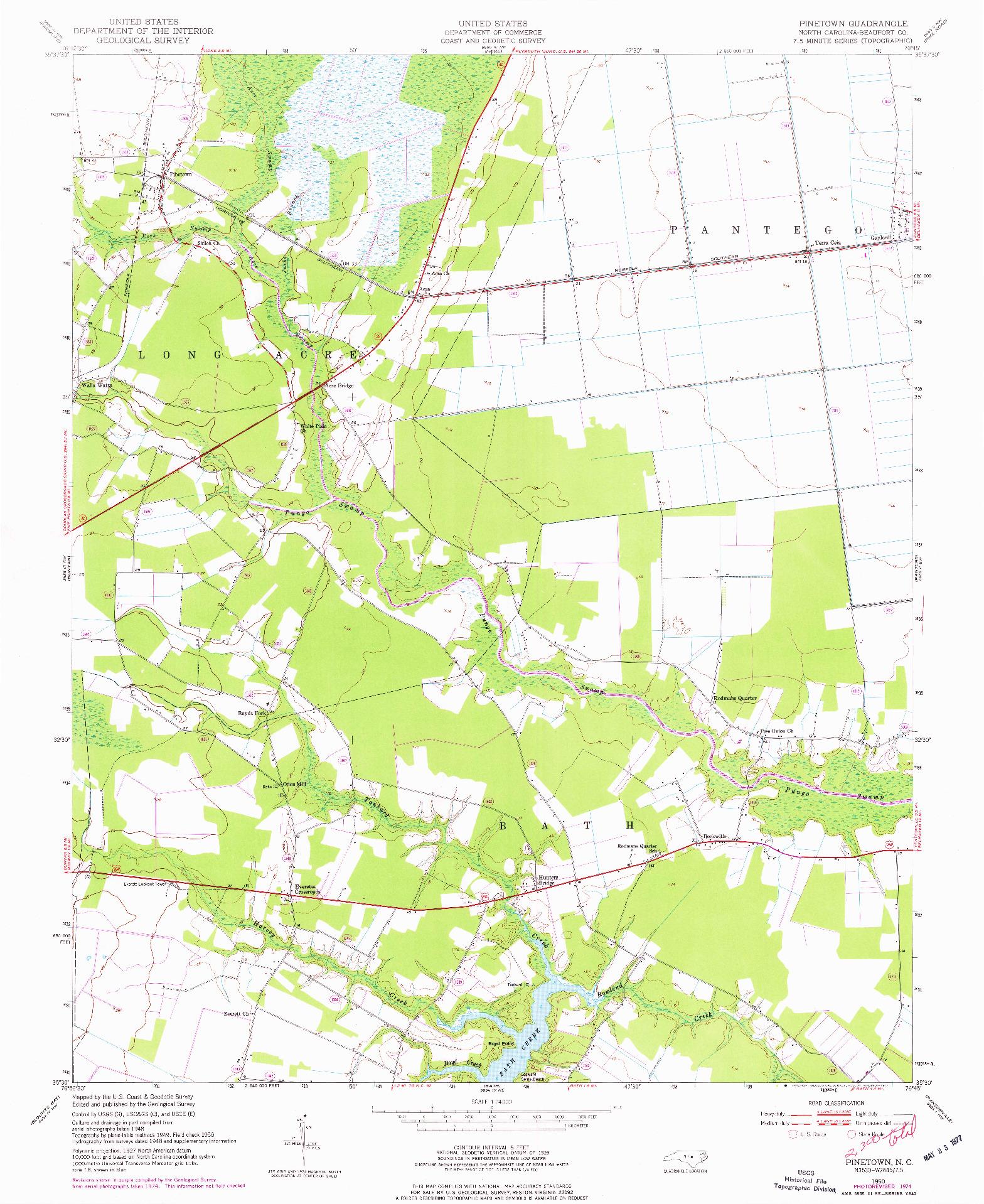 USGS 1:24000-SCALE QUADRANGLE FOR PINETOWN, NC 1950
