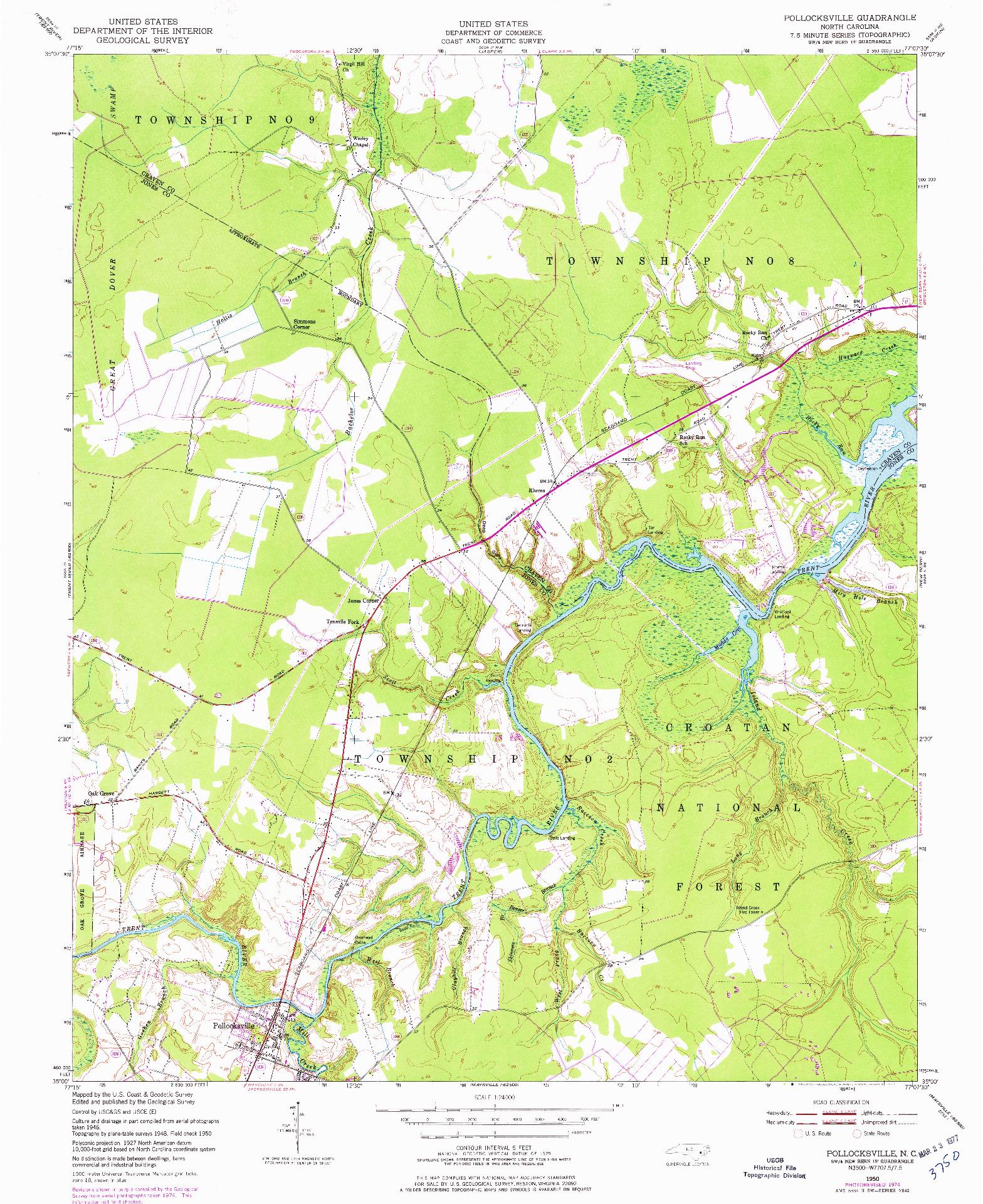 USGS 1:24000-SCALE QUADRANGLE FOR POLLOCKSVILLE, NC 1950