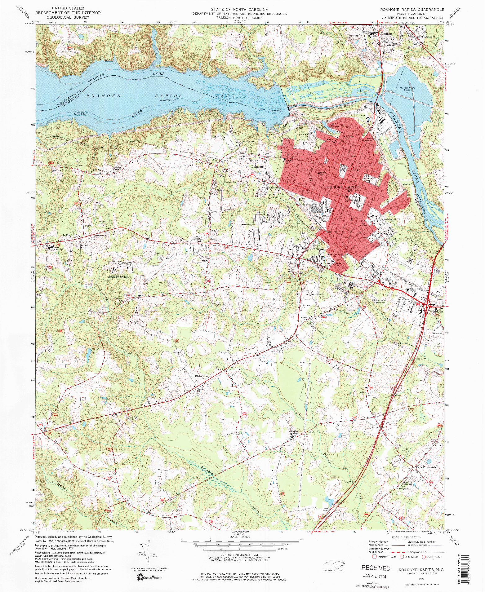 USGS 1:24000-SCALE QUADRANGLE FOR ROANOKE RAPIDS, NC 1974