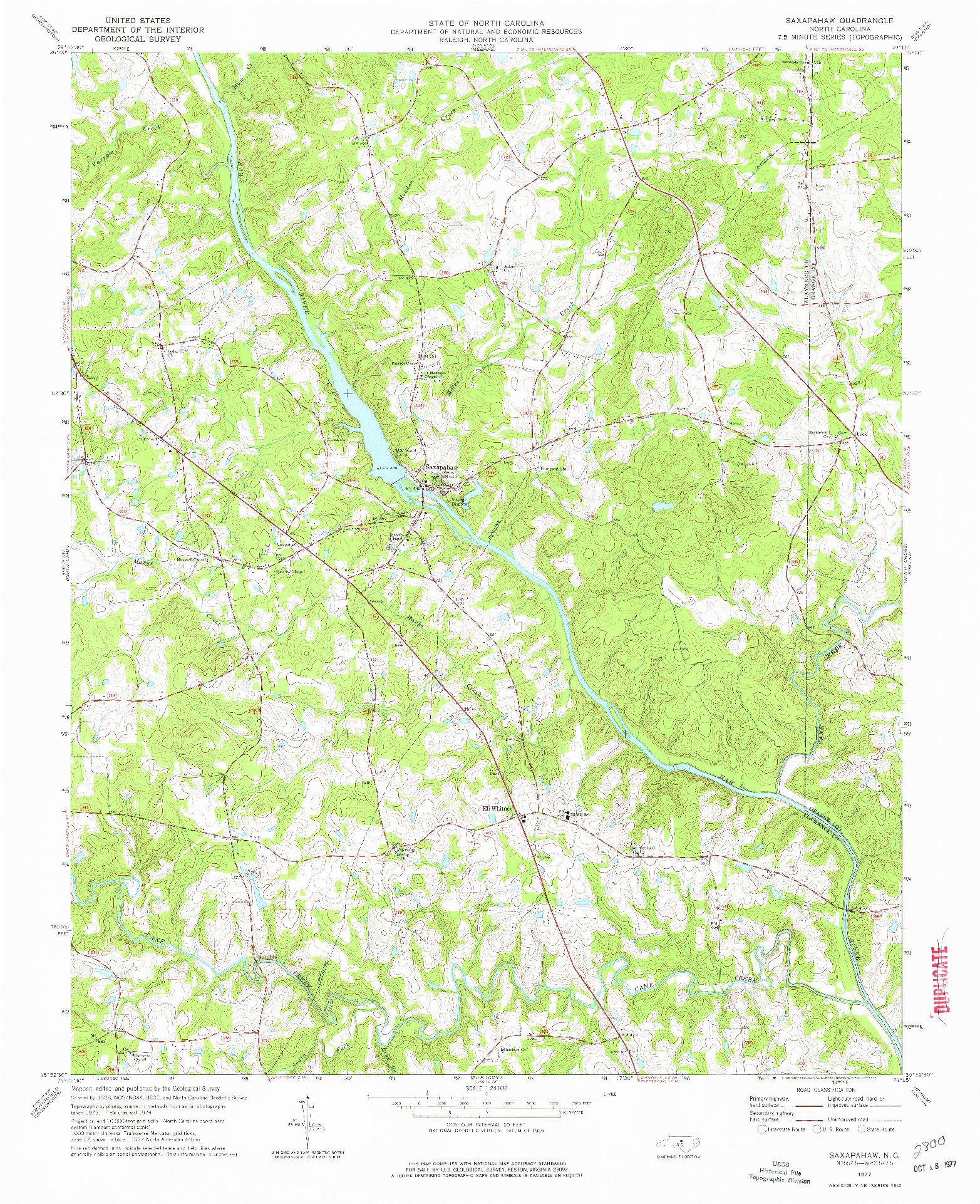 USGS 1:24000-SCALE QUADRANGLE FOR SAXAPAHAW, NC 1977