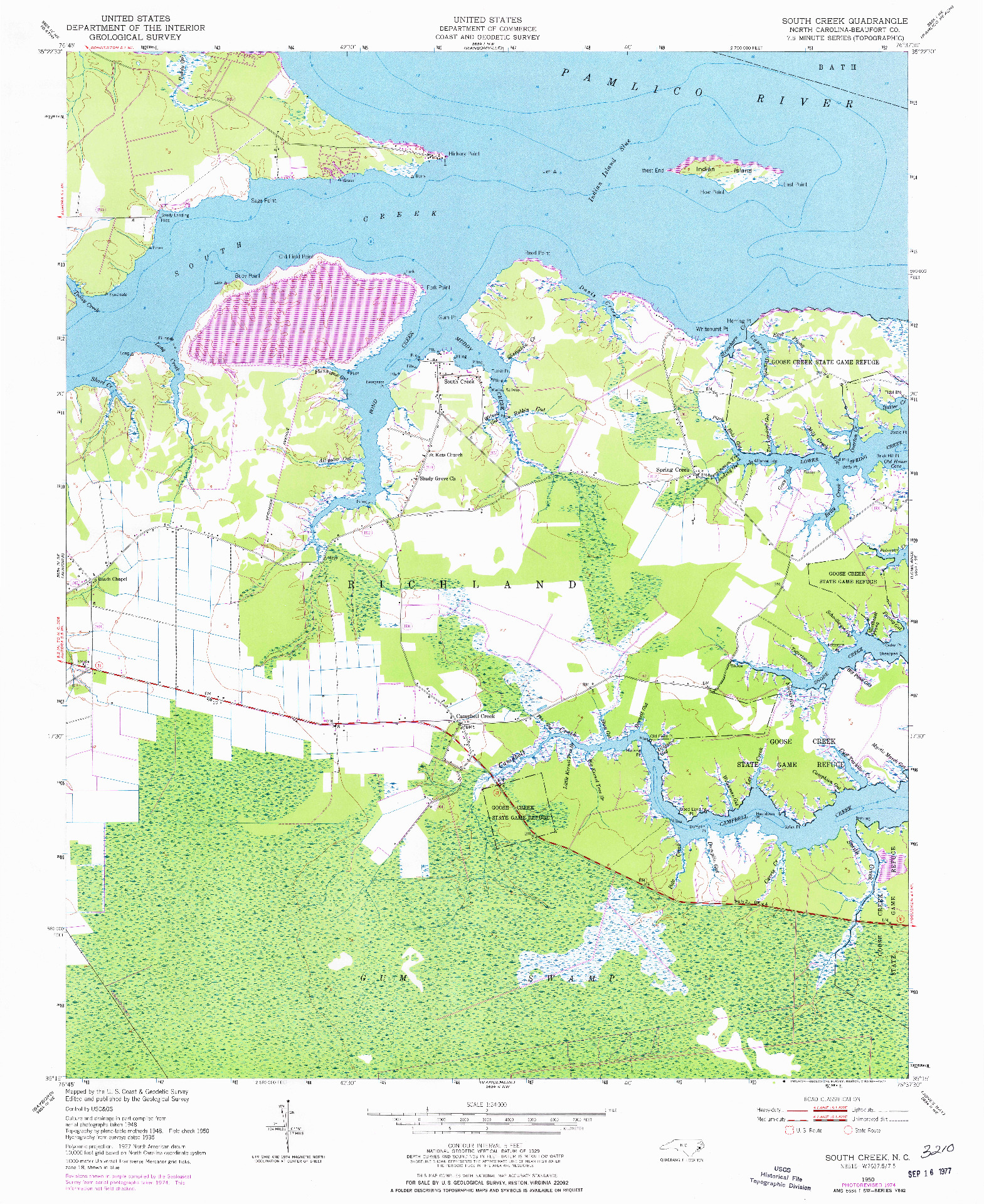 USGS 1:24000-SCALE QUADRANGLE FOR SOUTH CREEK, NC 1950