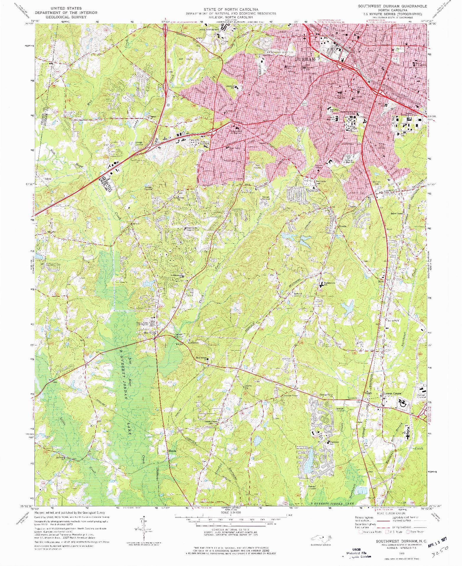 USGS 1:24000-SCALE QUADRANGLE FOR SOUTHWEST DURHAM, NC 1973