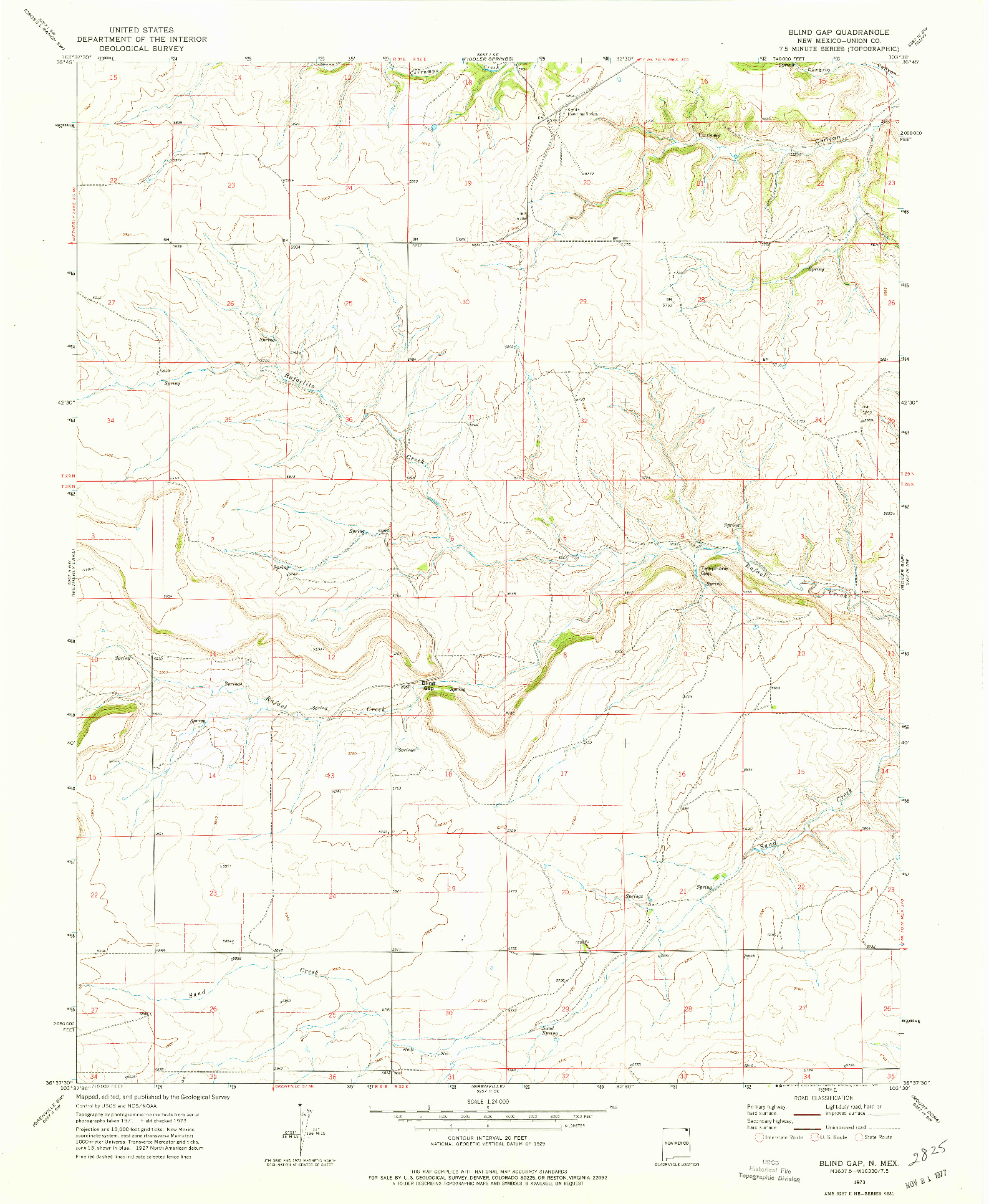 USGS 1:24000-SCALE QUADRANGLE FOR BLIND GAP, NM 1973