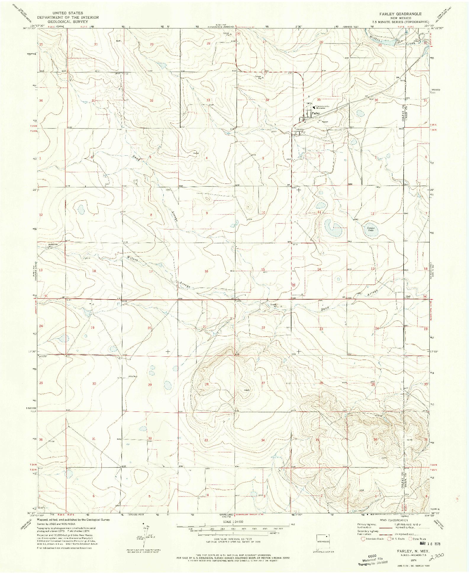 USGS 1:24000-SCALE QUADRANGLE FOR FARLEY, NM 1974