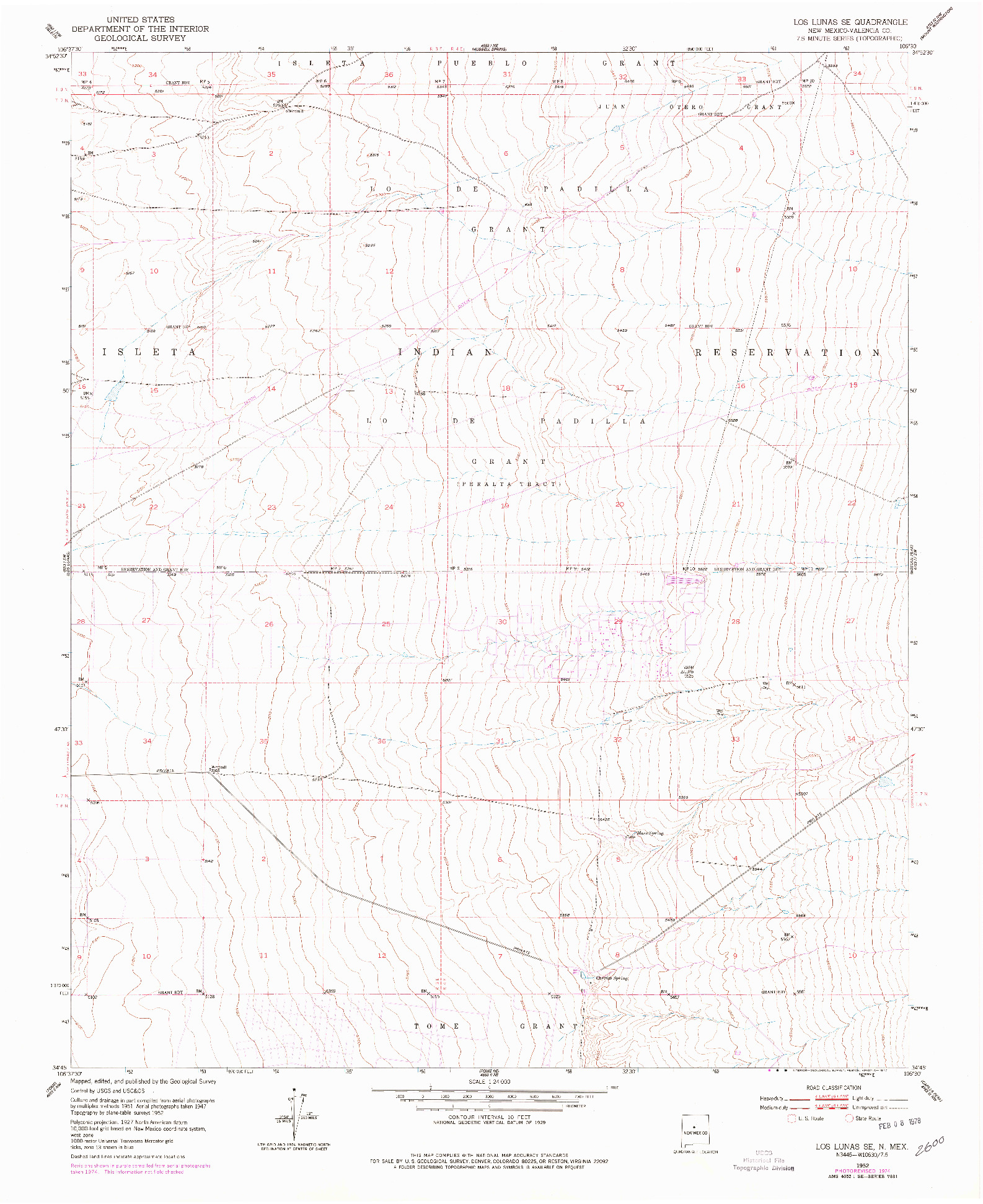 USGS 1:24000-SCALE QUADRANGLE FOR LOS LUNAS SE, NM 1952