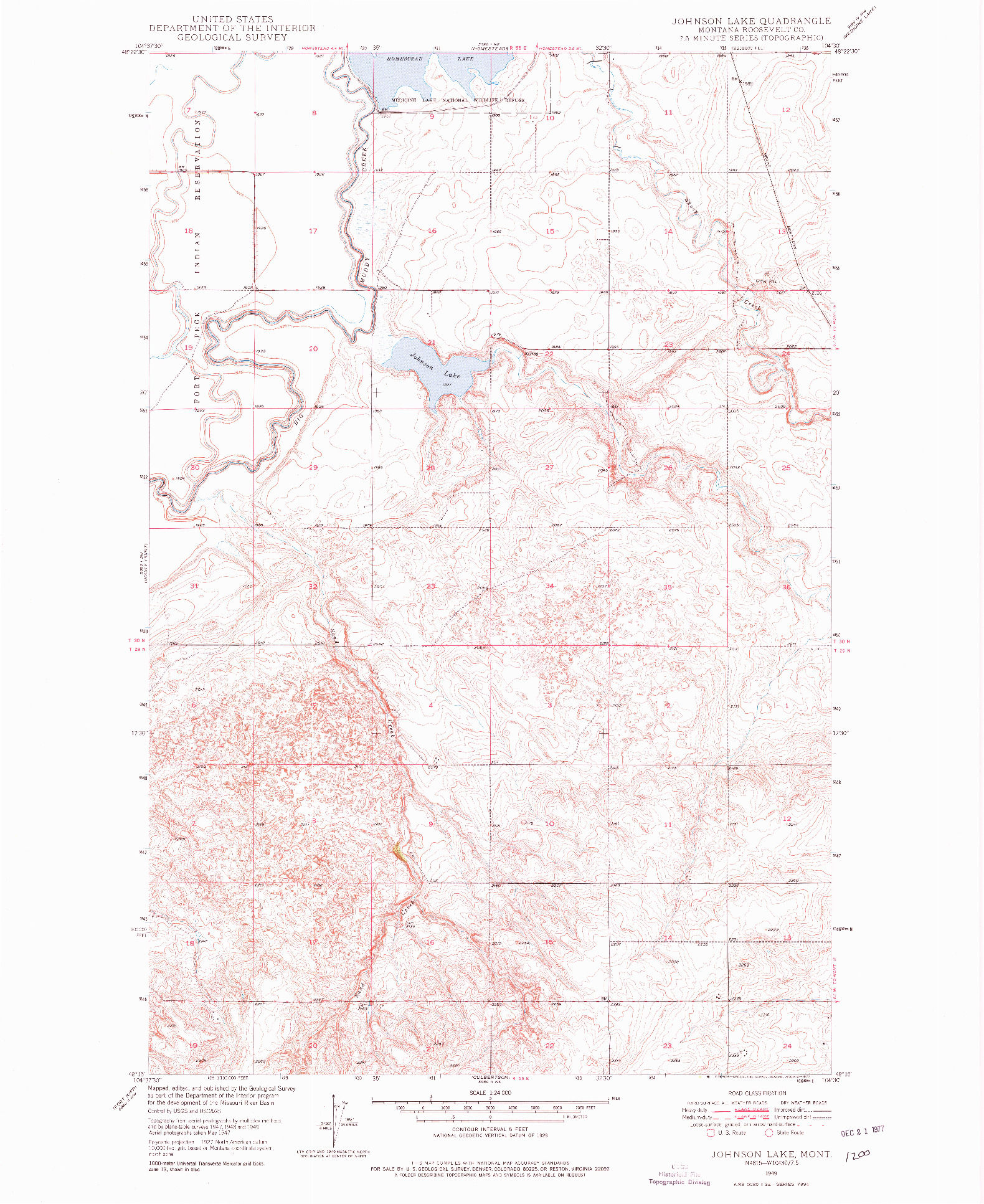 USGS 1:24000-SCALE QUADRANGLE FOR JOHNSON LAKE, MT 1949