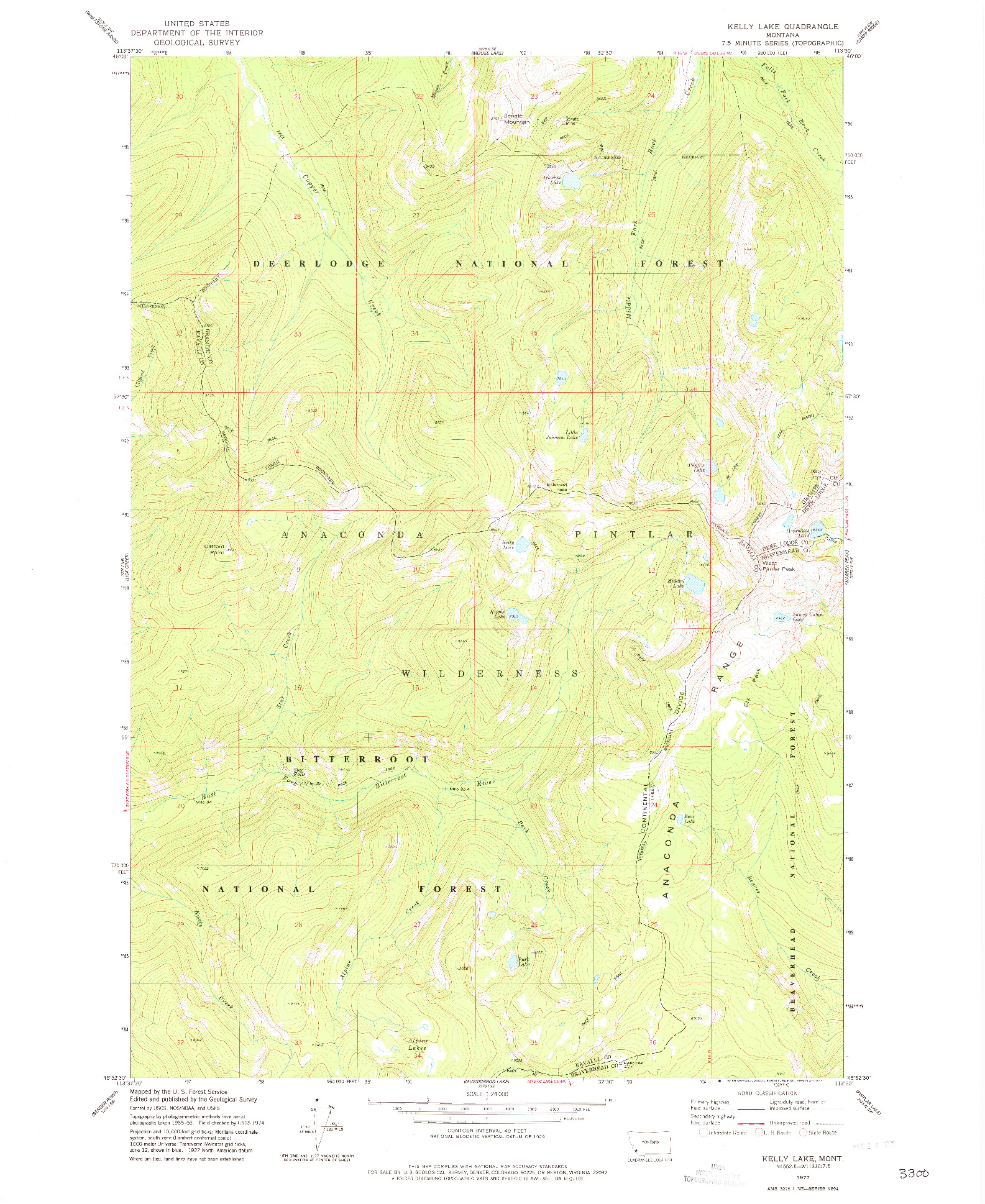 USGS 1:24000-SCALE QUADRANGLE FOR KELLY LAKE, MT 1977