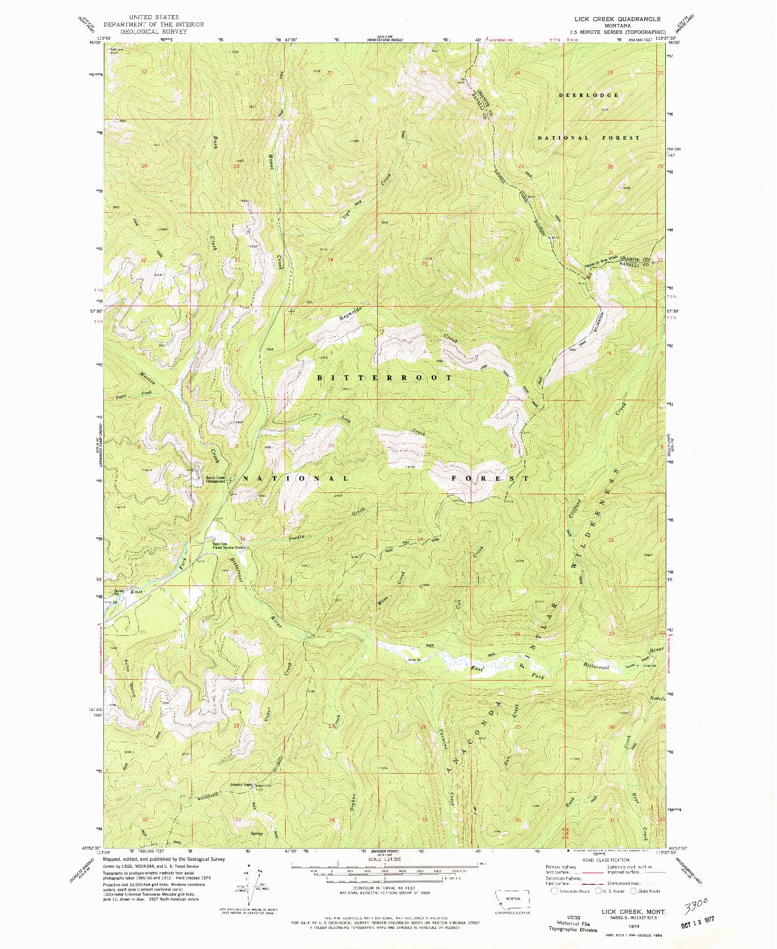 USGS 1:24000-SCALE QUADRANGLE FOR LICK CREEK, MT 1974