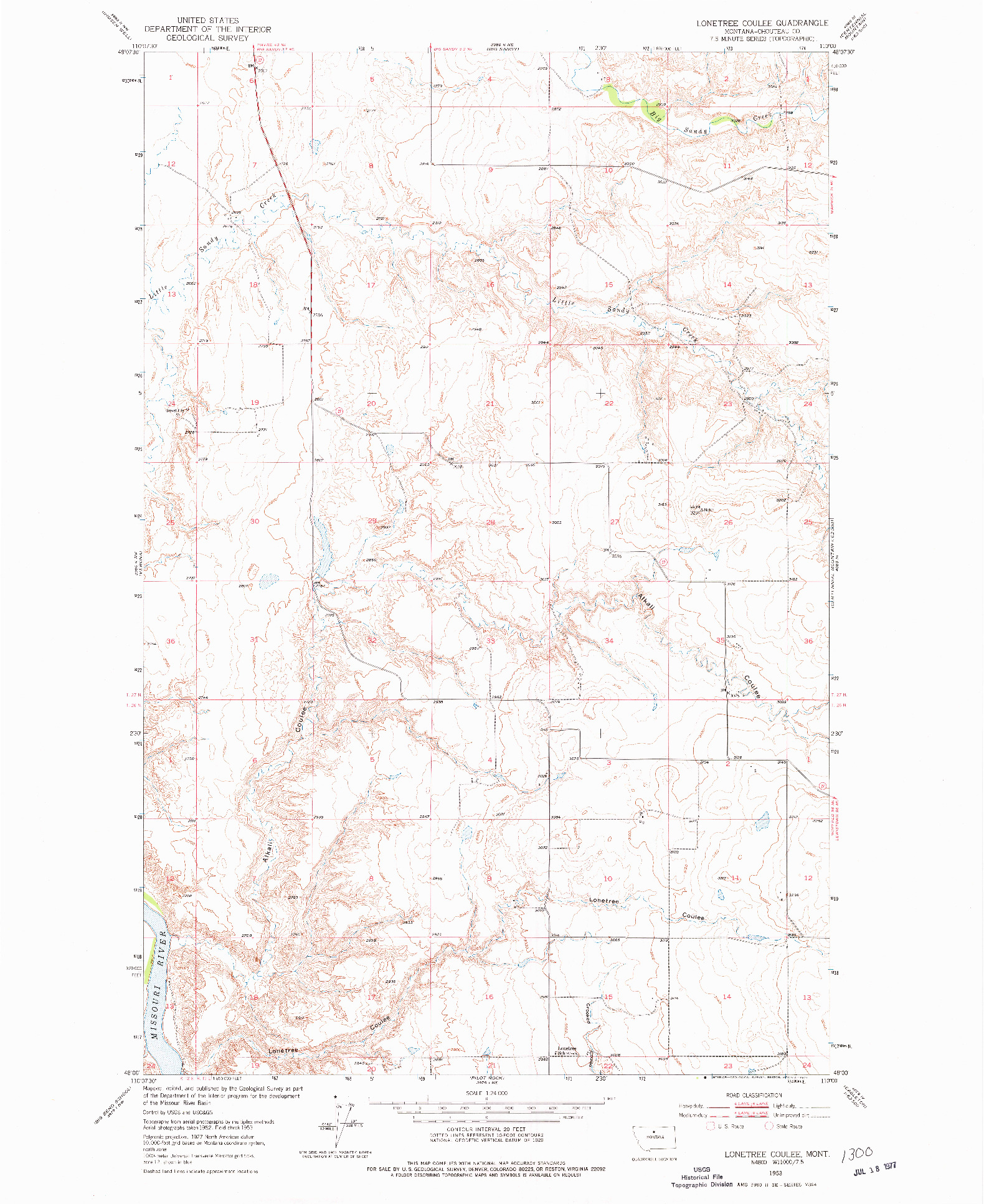 USGS 1:24000-SCALE QUADRANGLE FOR LONETREE COULEE, MT 1953