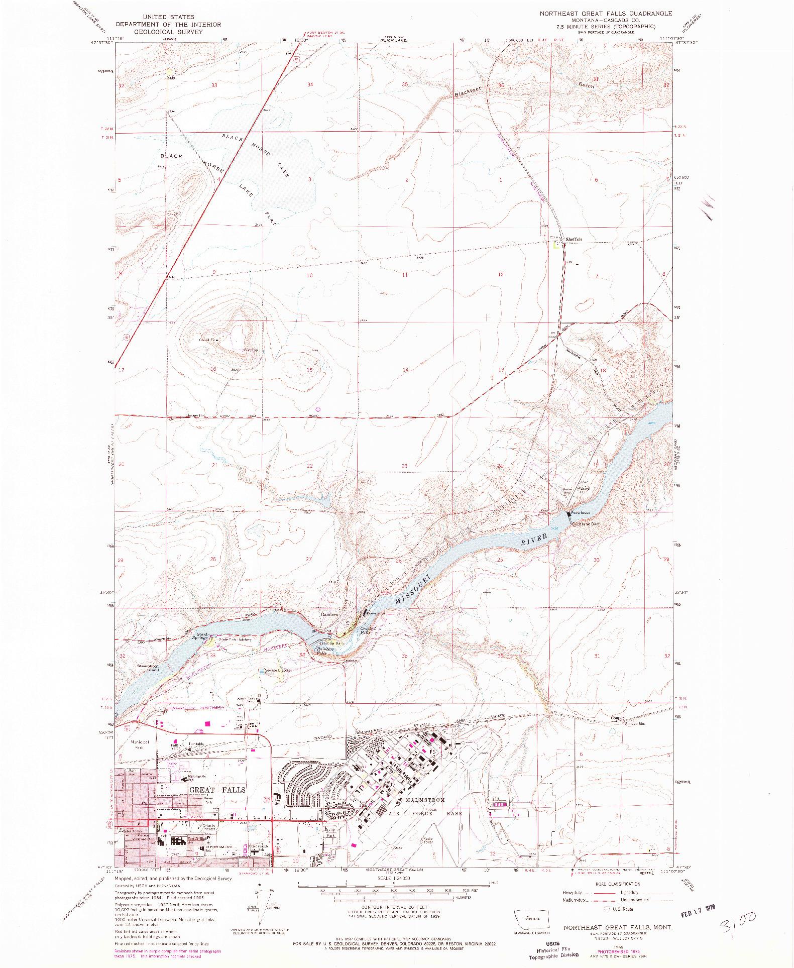 USGS 1:24000-SCALE QUADRANGLE FOR NORTHEAST GREAT FALLS, MT 1965
