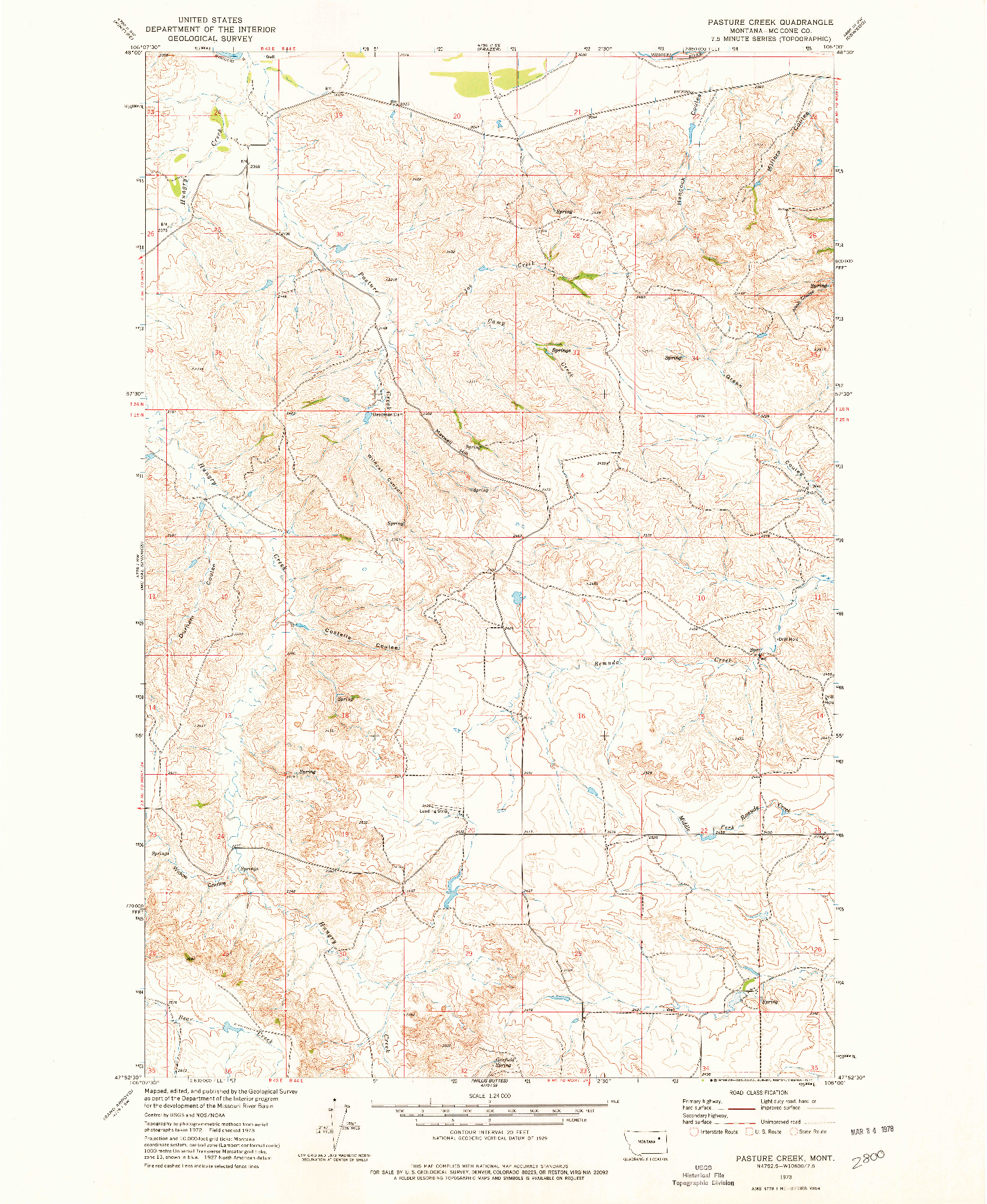USGS 1:24000-SCALE QUADRANGLE FOR PASTURE CREEK, MT 1973
