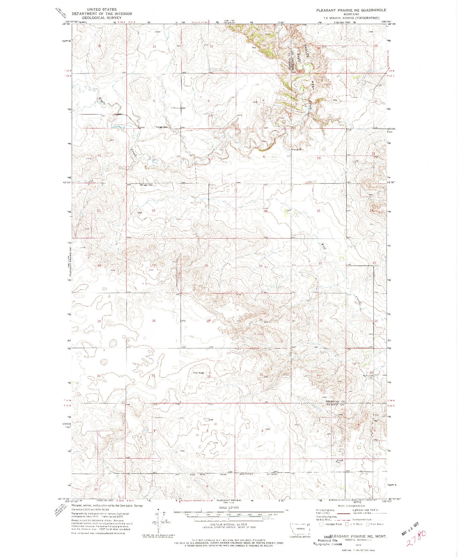 USGS 1:24000-SCALE QUADRANGLE FOR PLEASANT PRAIRIE NE, MT 1973