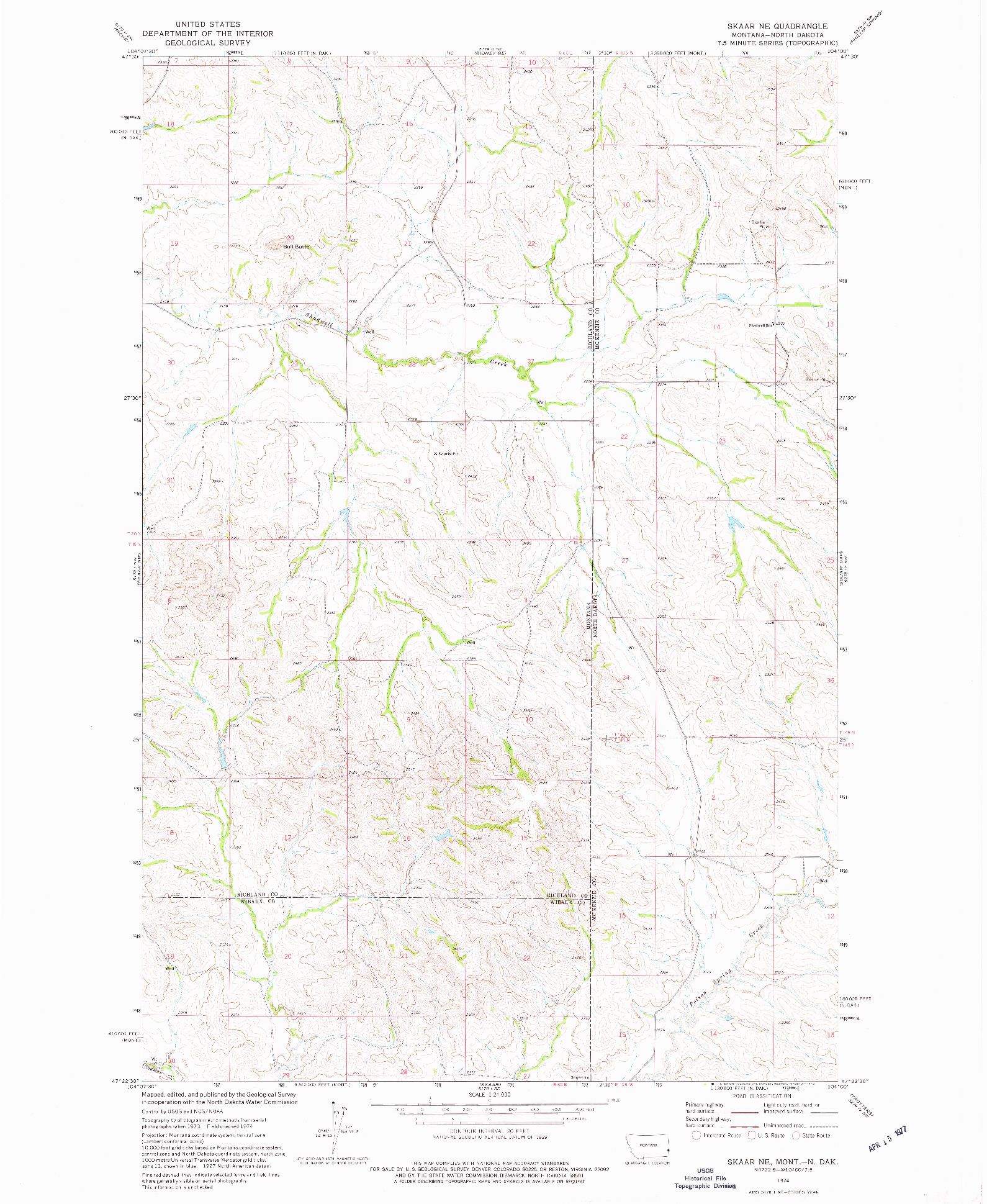 USGS 1:24000-SCALE QUADRANGLE FOR SKAAR NE, MT 1974