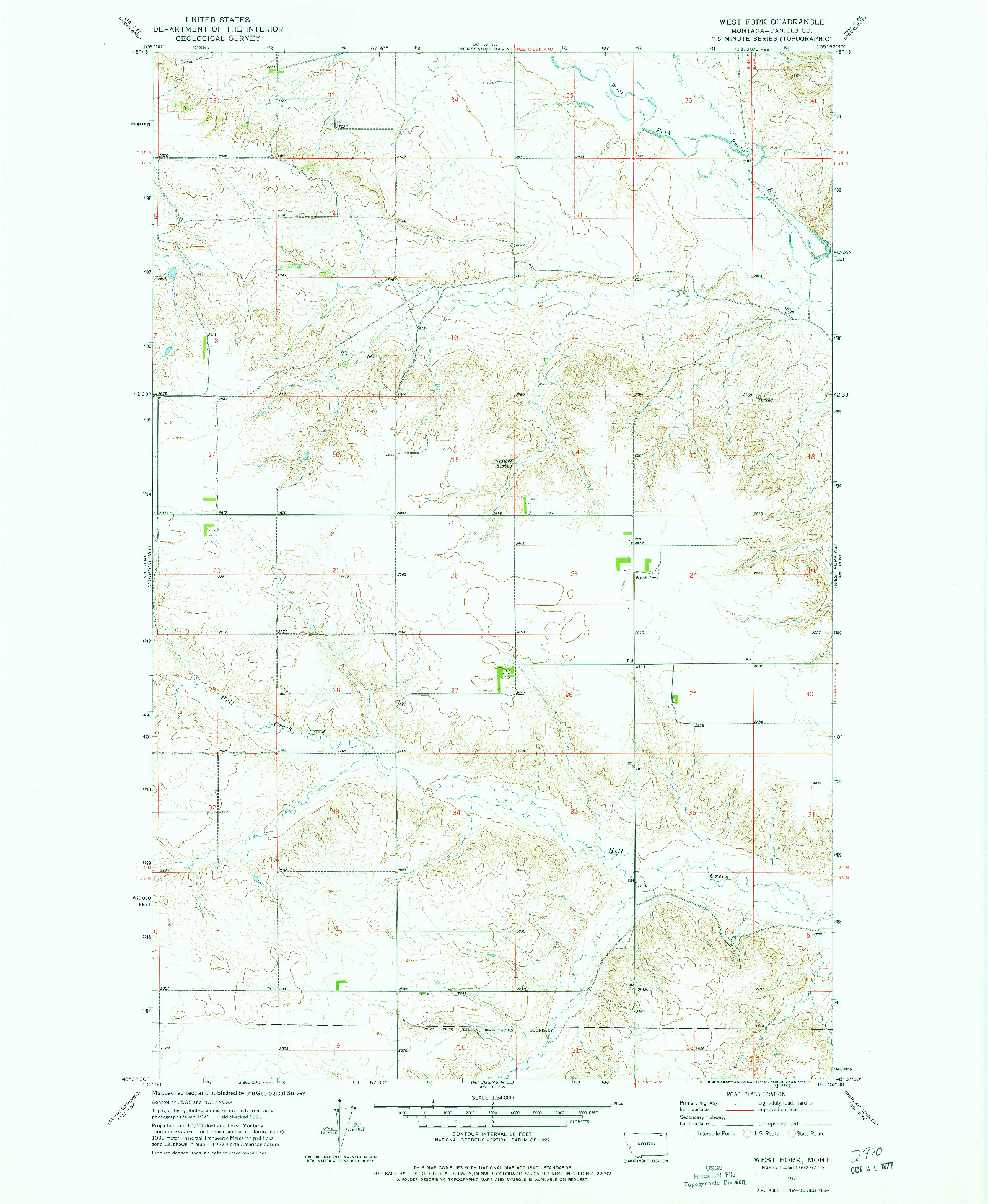 USGS 1:24000-SCALE QUADRANGLE FOR WEST FORK, MT 1973