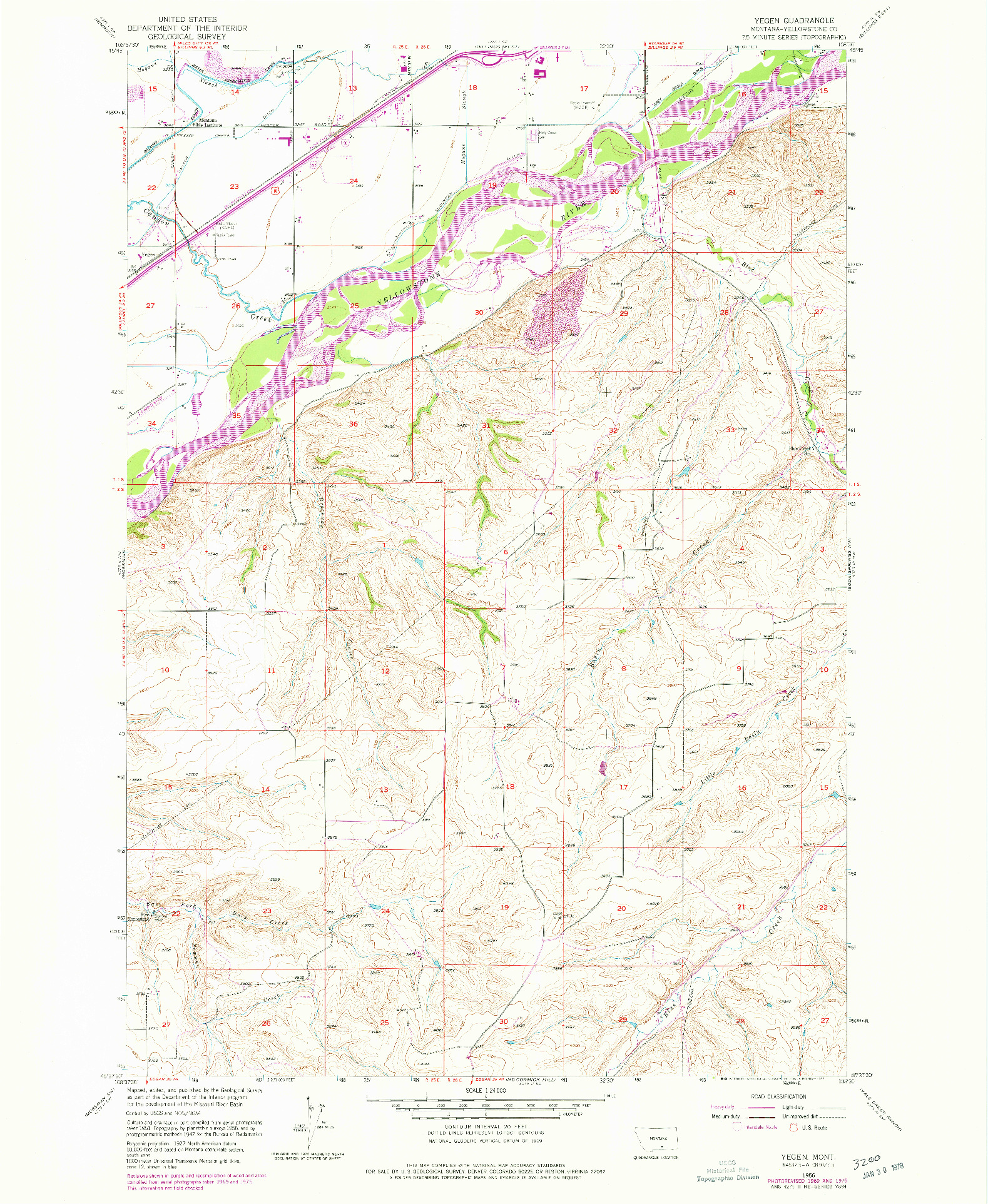 USGS 1:24000-SCALE QUADRANGLE FOR YEGEN, MT 1956