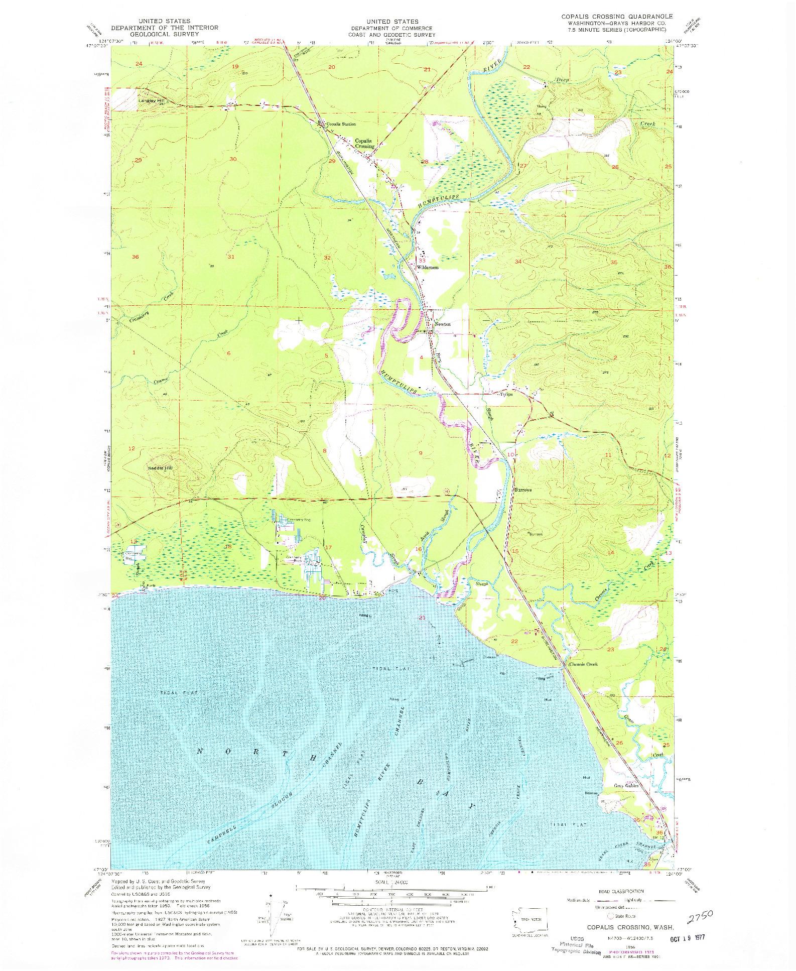 USGS 1:24000-SCALE QUADRANGLE FOR COPALIS CROSSING, WA 1956