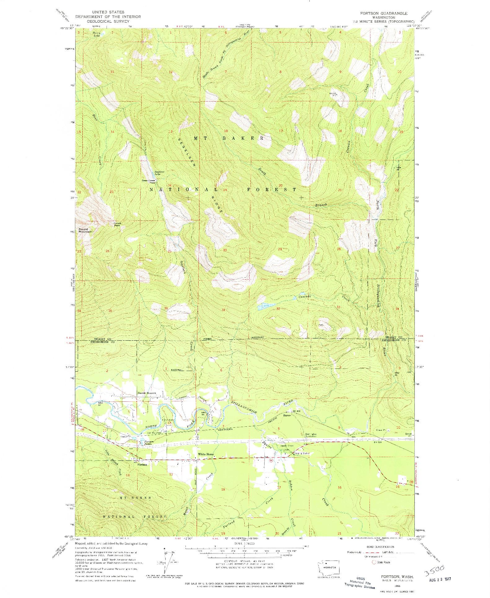 USGS 1:24000-SCALE QUADRANGLE FOR FORTSON, WA 1966