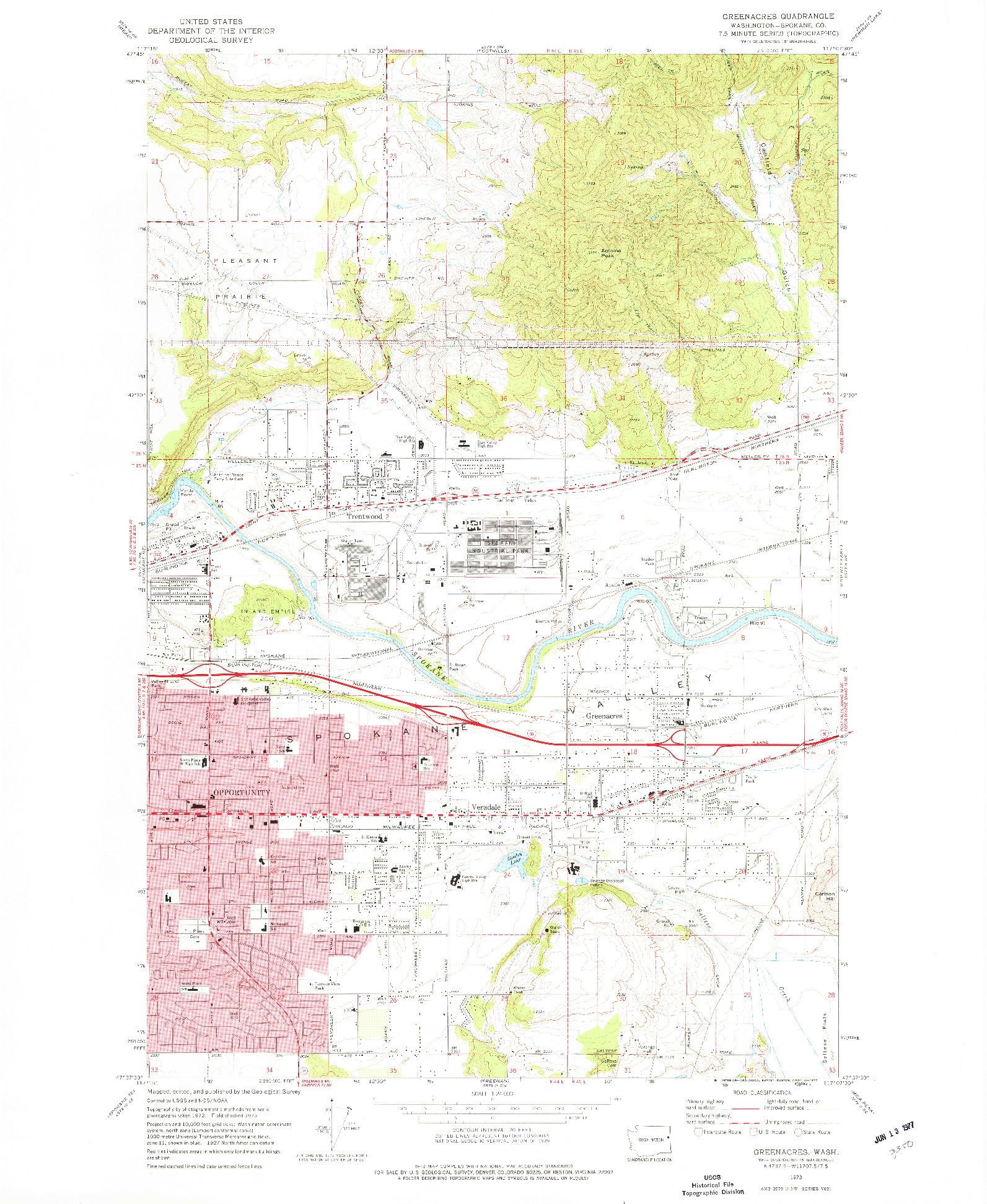 USGS 1:24000-SCALE QUADRANGLE FOR GREENACRES, WA 1973
