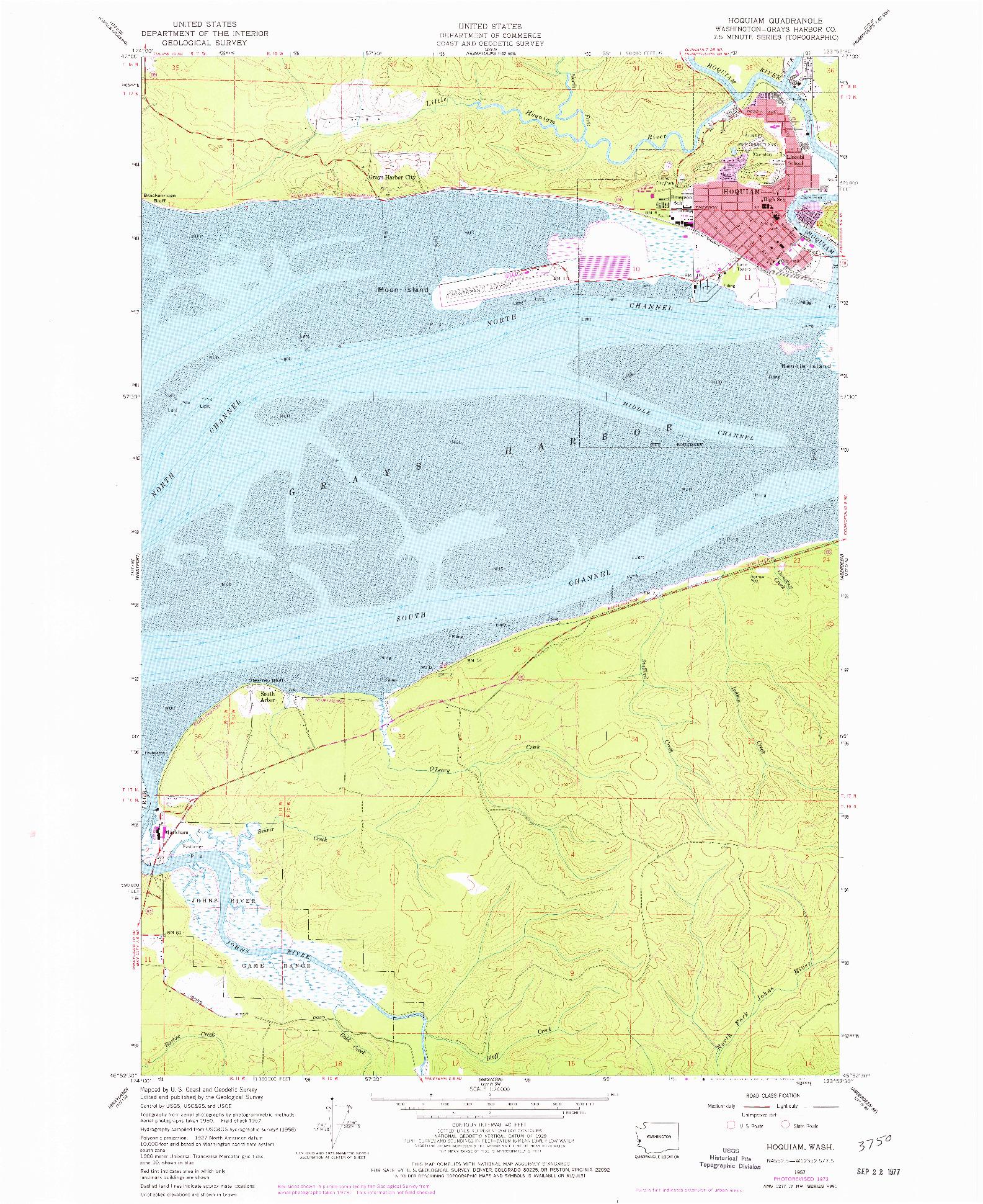 USGS 1:24000-SCALE QUADRANGLE FOR HOQUIAM, WA 1957