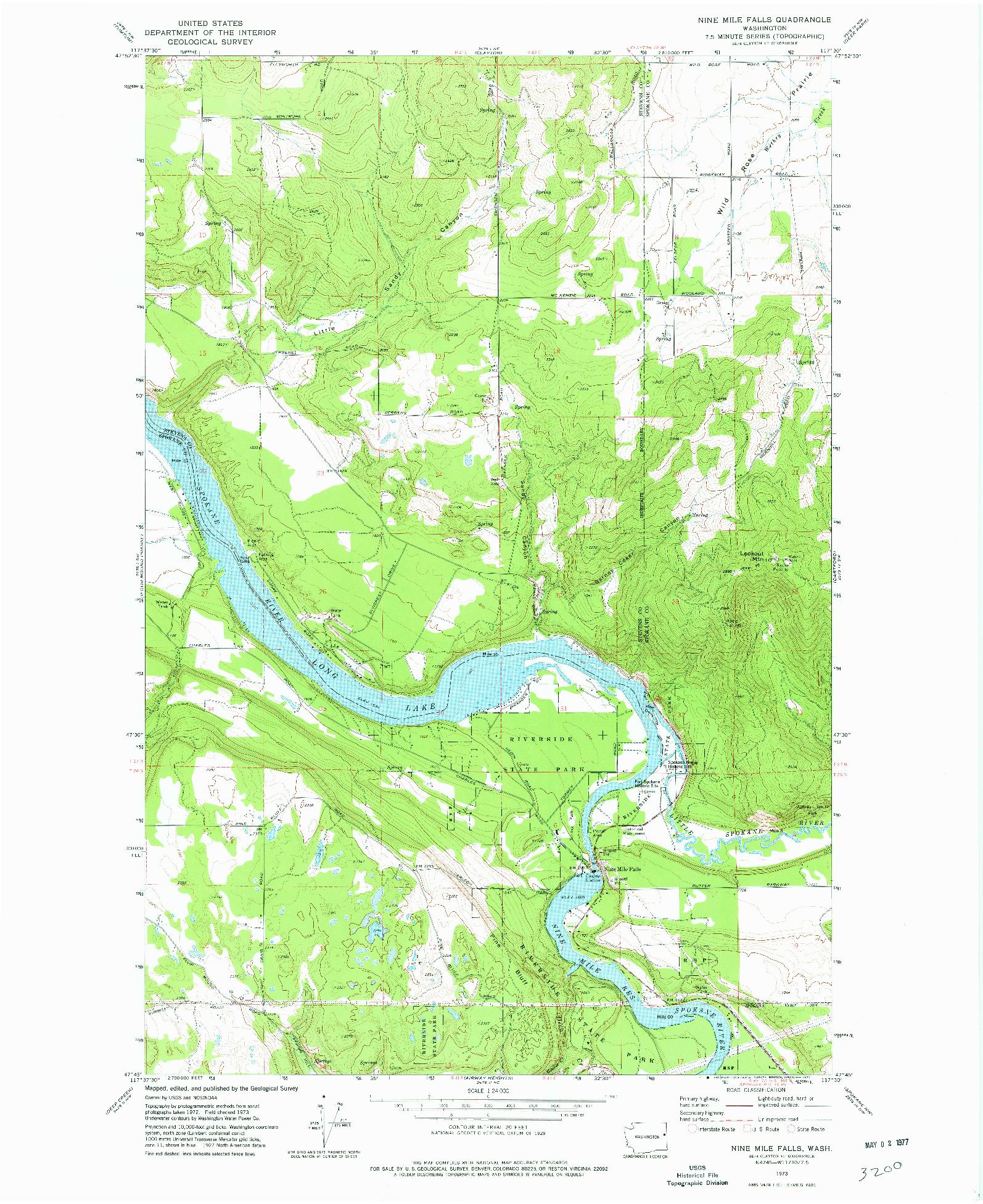 USGS 1:24000-SCALE QUADRANGLE FOR NINE MILE FALLS, WA 1973