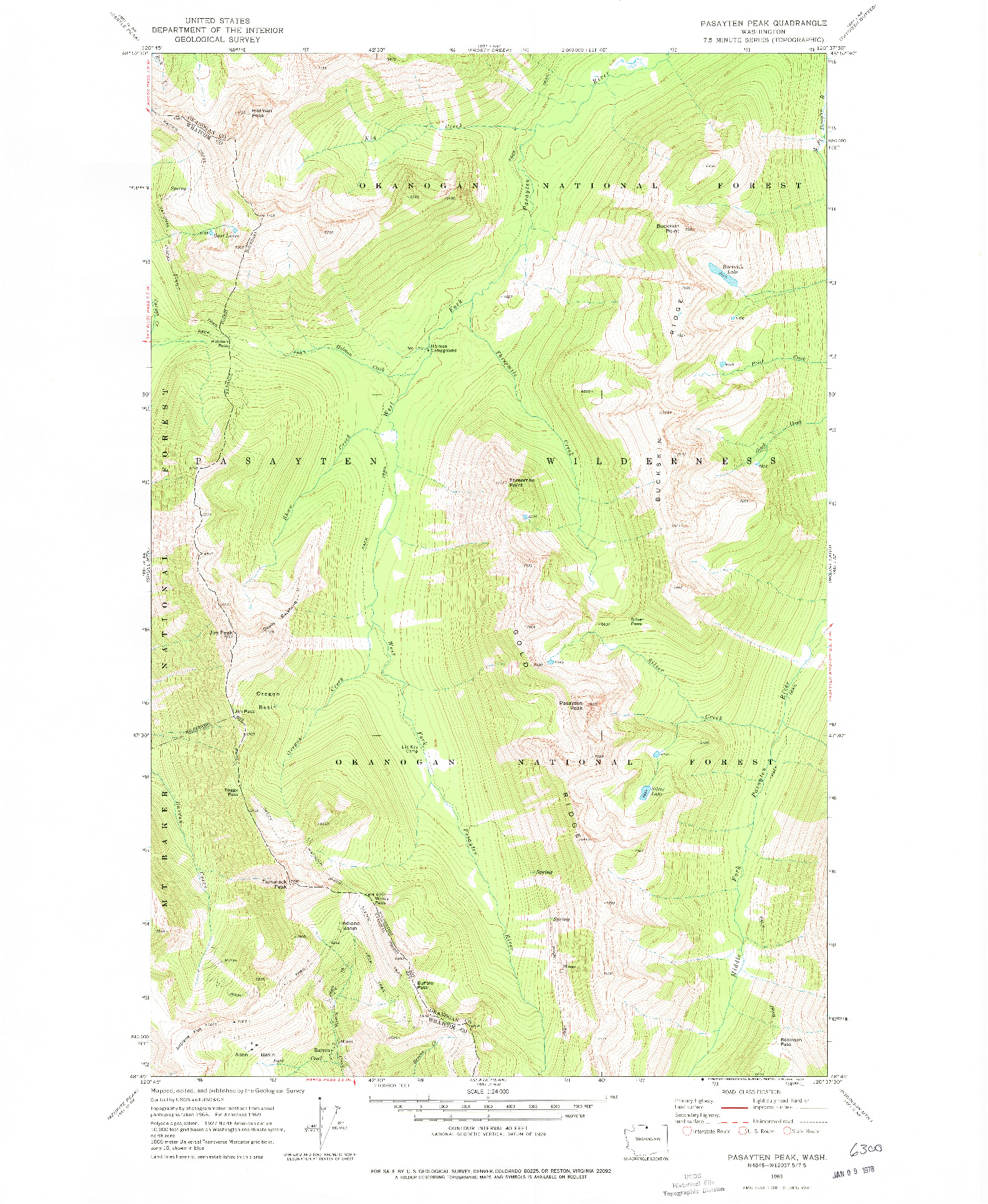 USGS 1:24000-SCALE QUADRANGLE FOR PASAYTEN PEAK, WA 1969
