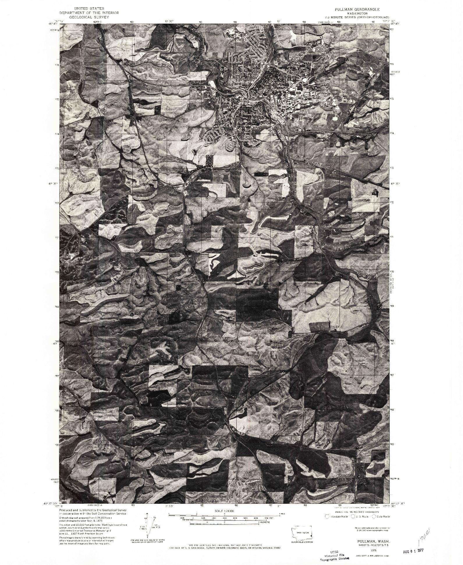 USGS 1:24000-SCALE QUADRANGLE FOR PULLMAN, WA 1975