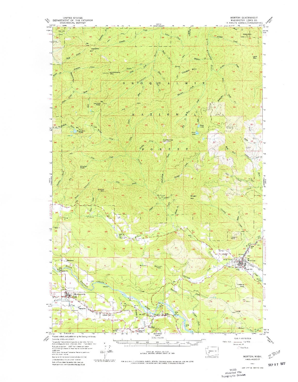 USGS 1:62500-SCALE QUADRANGLE FOR MORTON, WA 1957