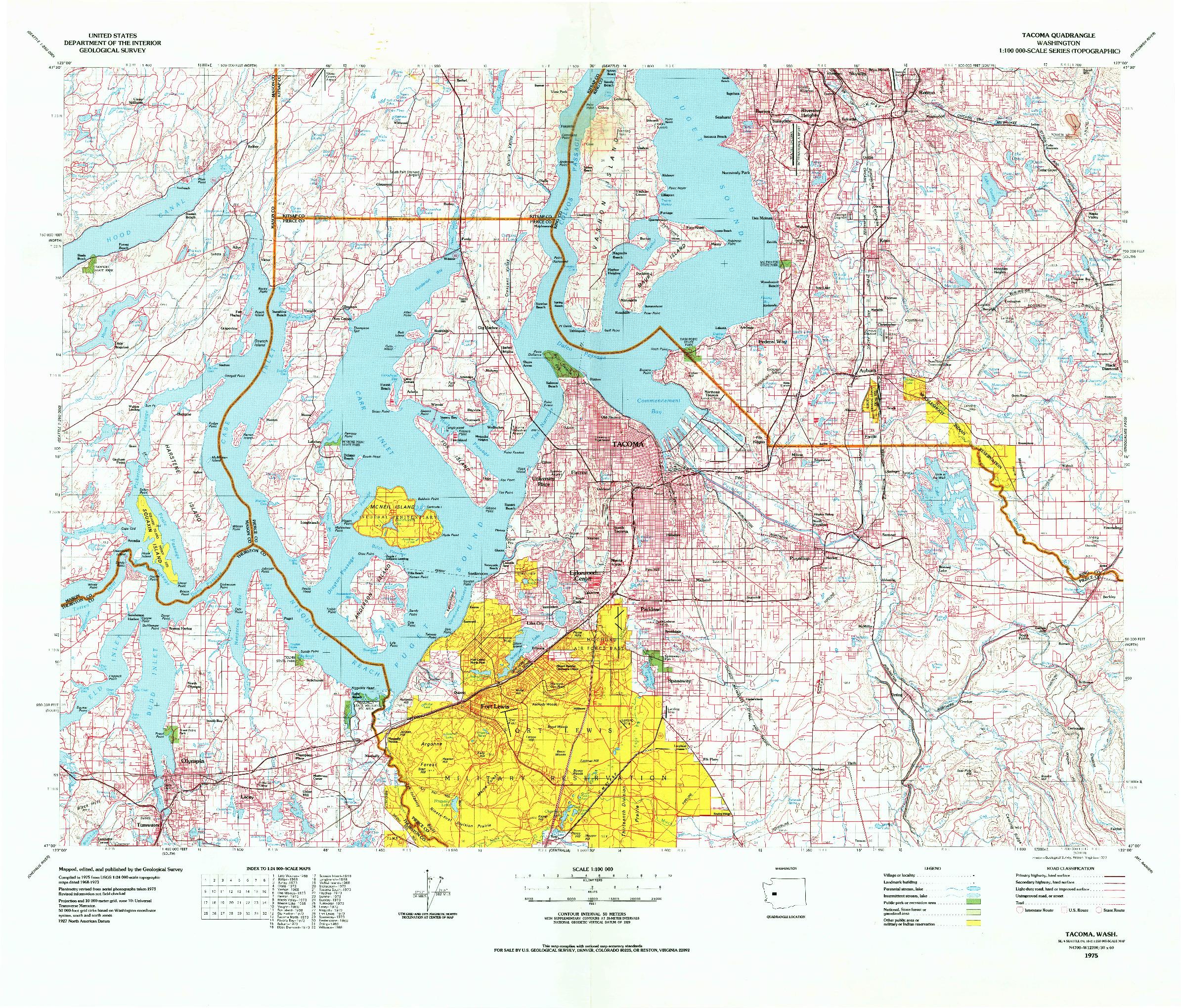 USGS 1:100000-SCALE QUADRANGLE FOR TACOMA, WA 1975