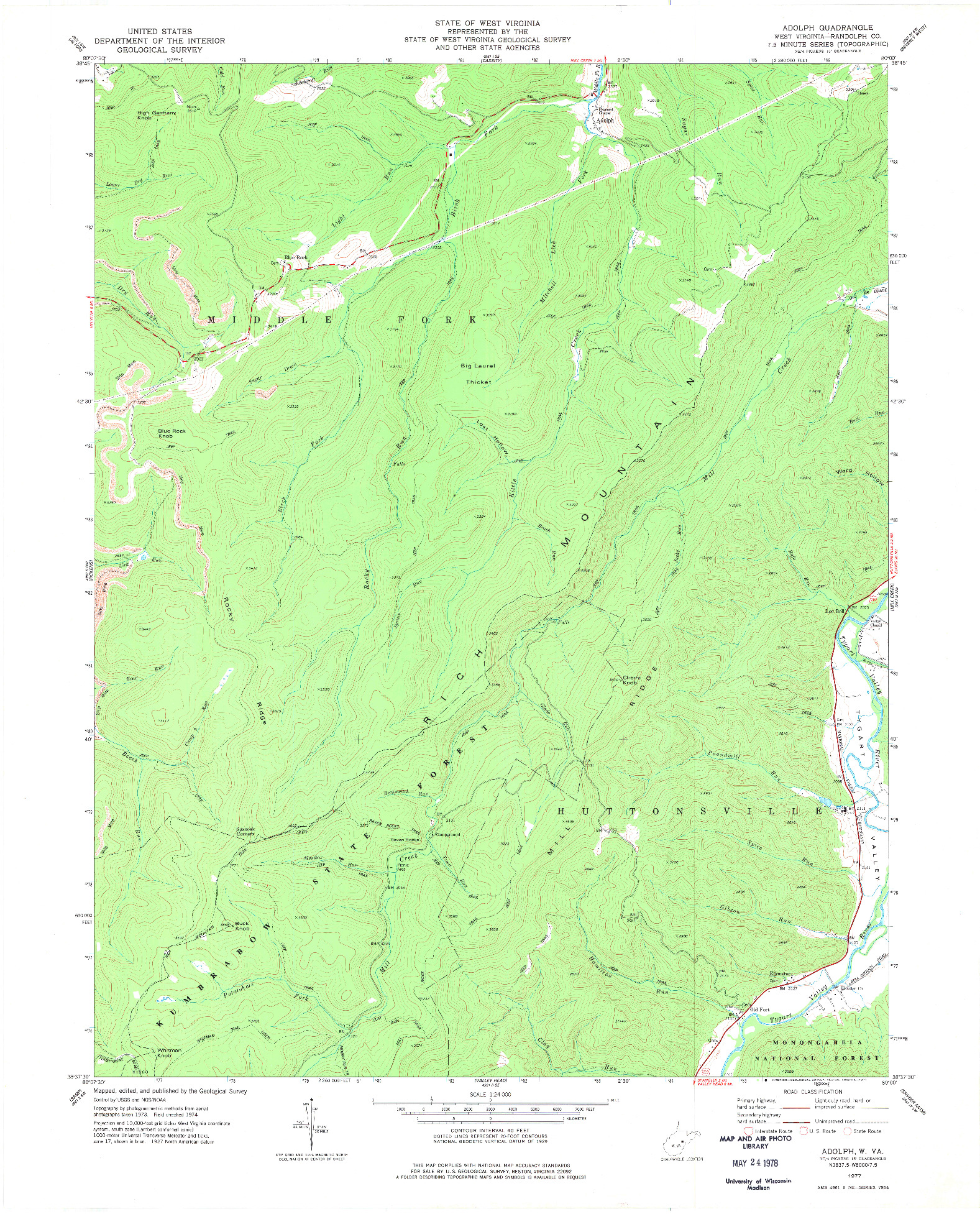 USGS 1:24000-SCALE QUADRANGLE FOR ADOLPH, WV 1977