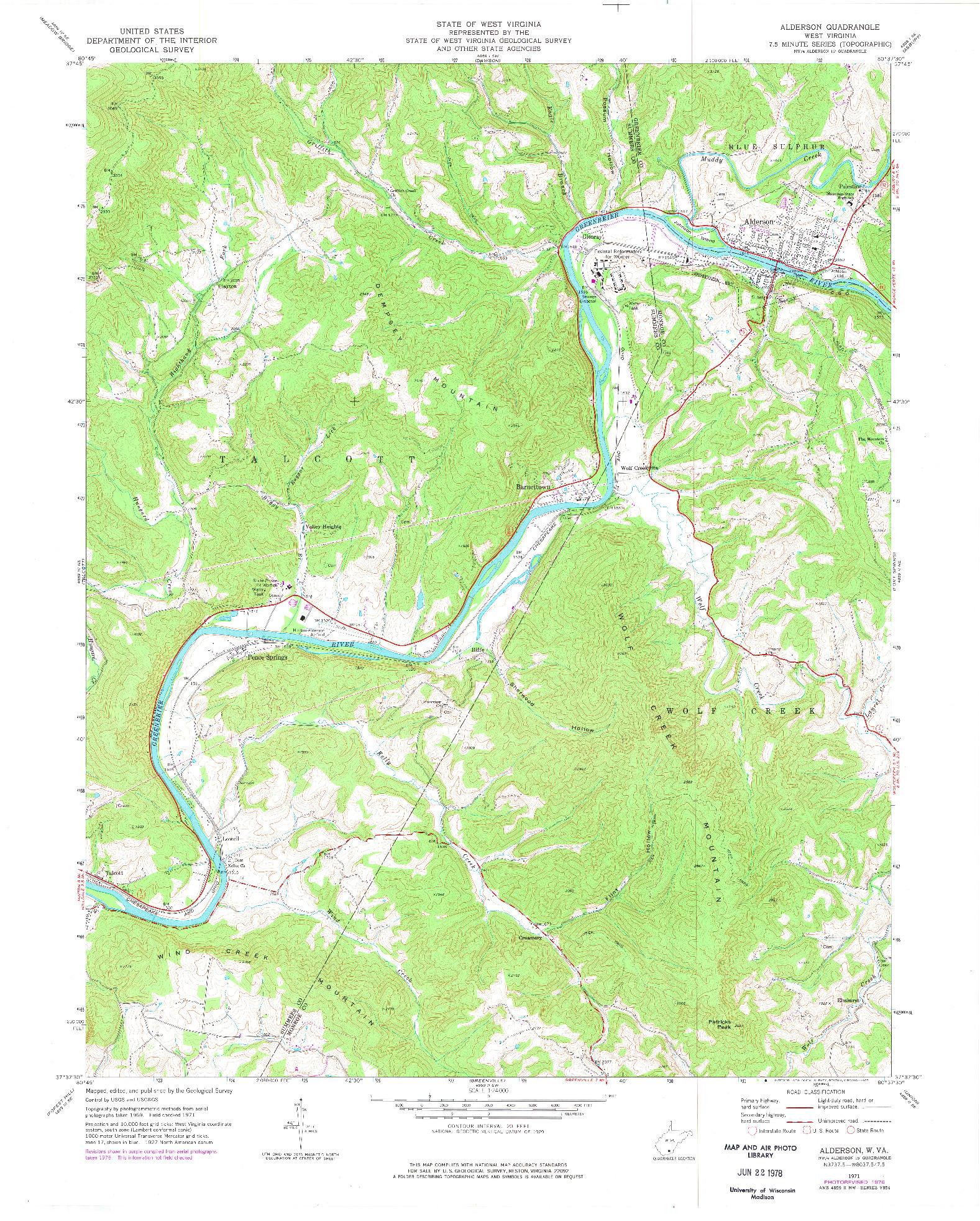 USGS 1:24000-SCALE QUADRANGLE FOR ALDERSON, WV 1971