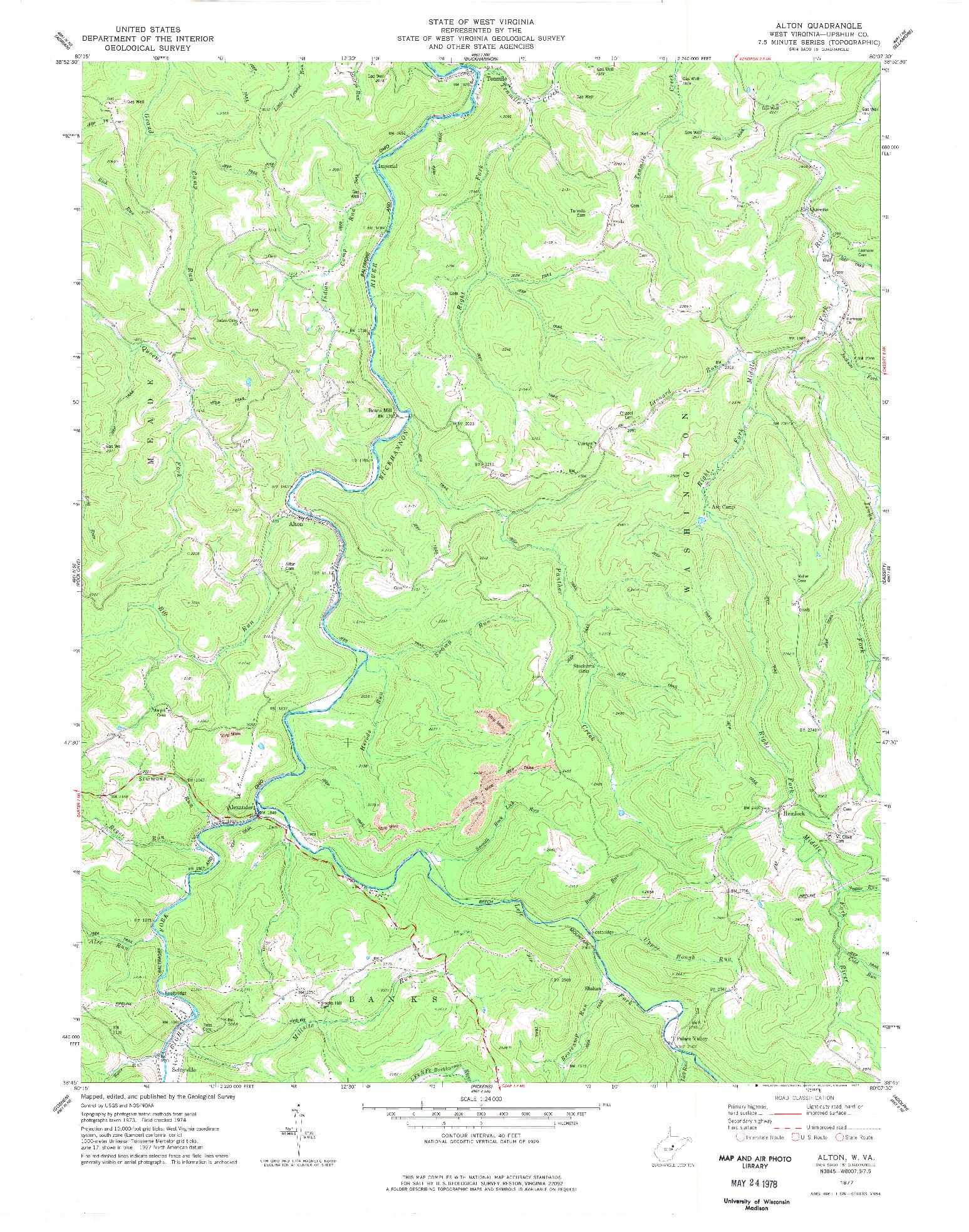 USGS 1:24000-SCALE QUADRANGLE FOR ALTON, WV 1977