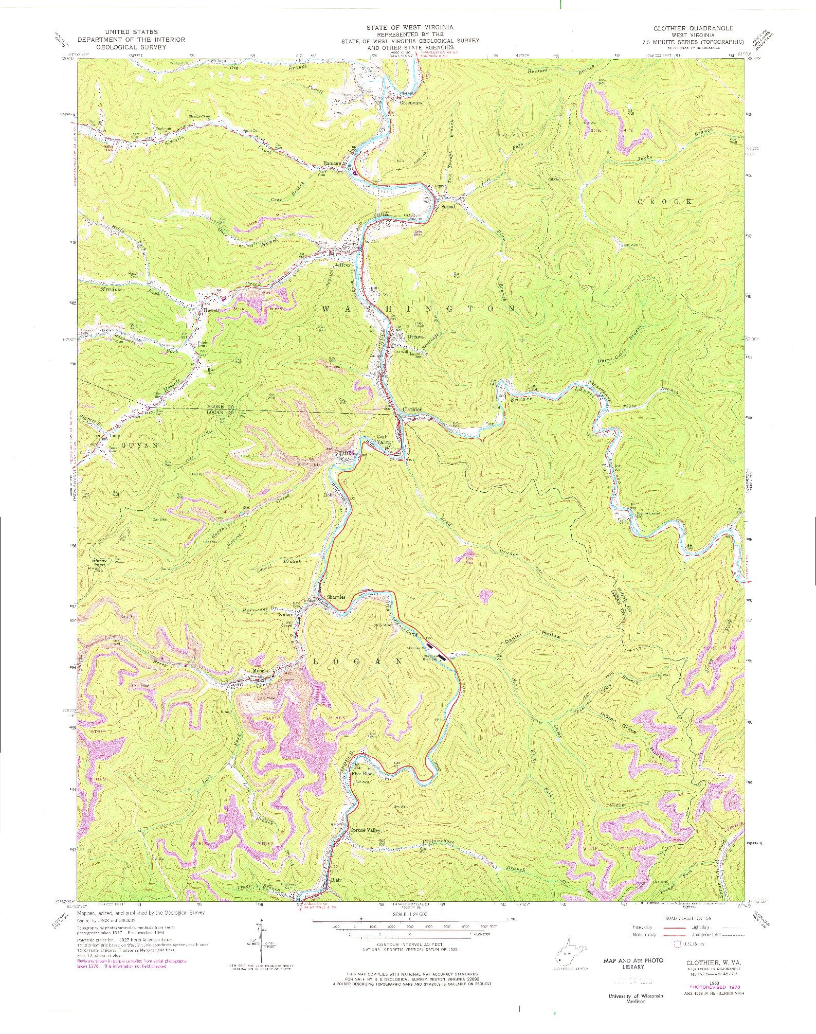 USGS 1:24000-SCALE QUADRANGLE FOR CLOTHIER, WV 1963