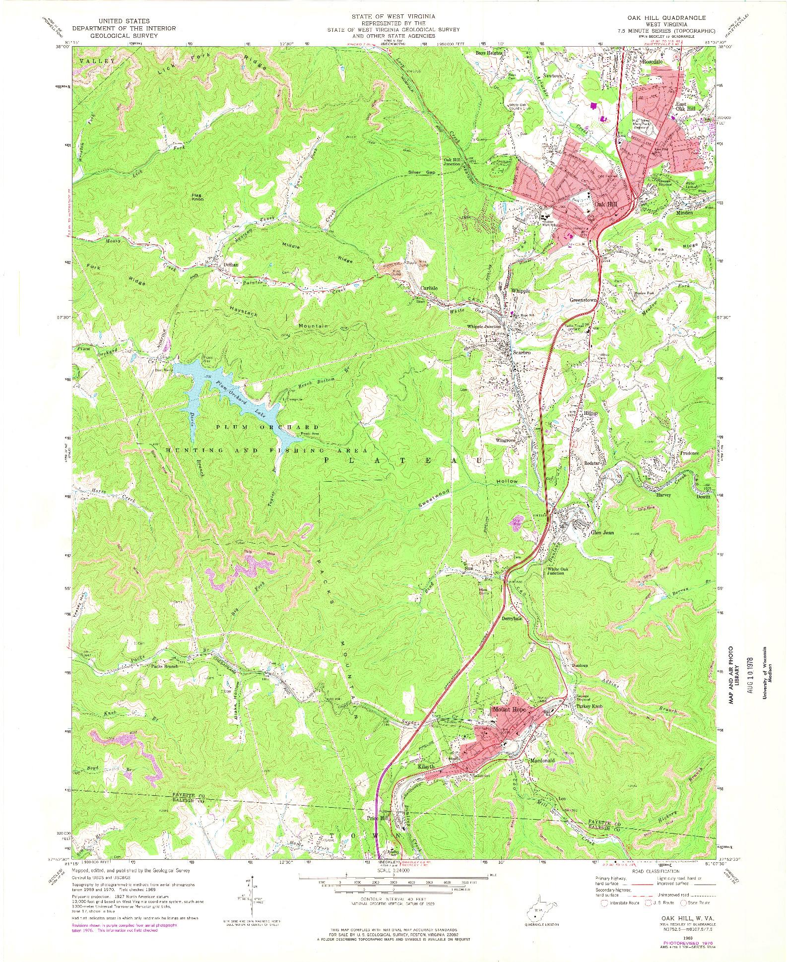 USGS 1:24000-SCALE QUADRANGLE FOR OAK HILL, WV 1969