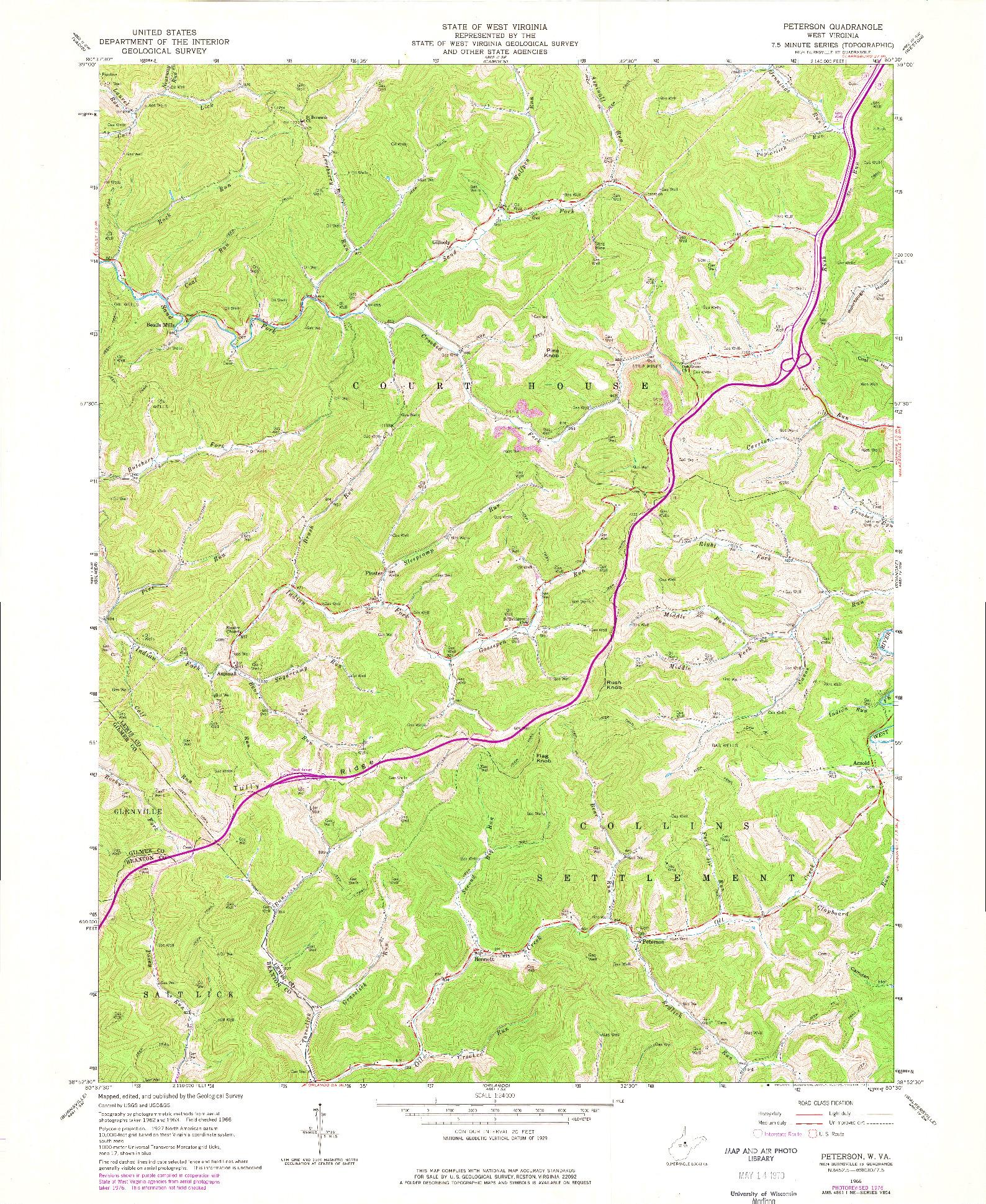 USGS 1:24000-SCALE QUADRANGLE FOR PETERSON, WV 1966