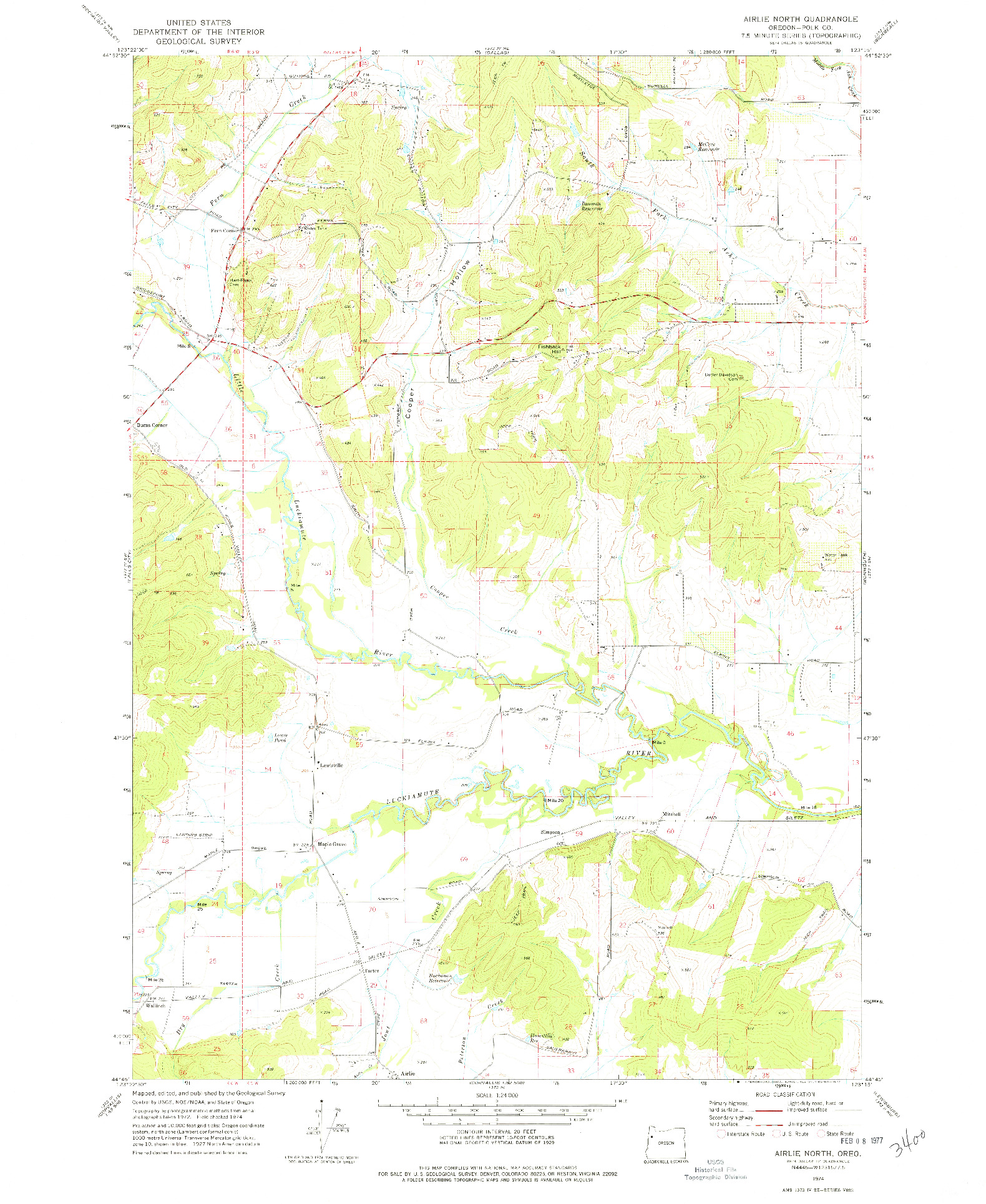USGS 1:24000-SCALE QUADRANGLE FOR AIRLIE NORTH, OR 1974