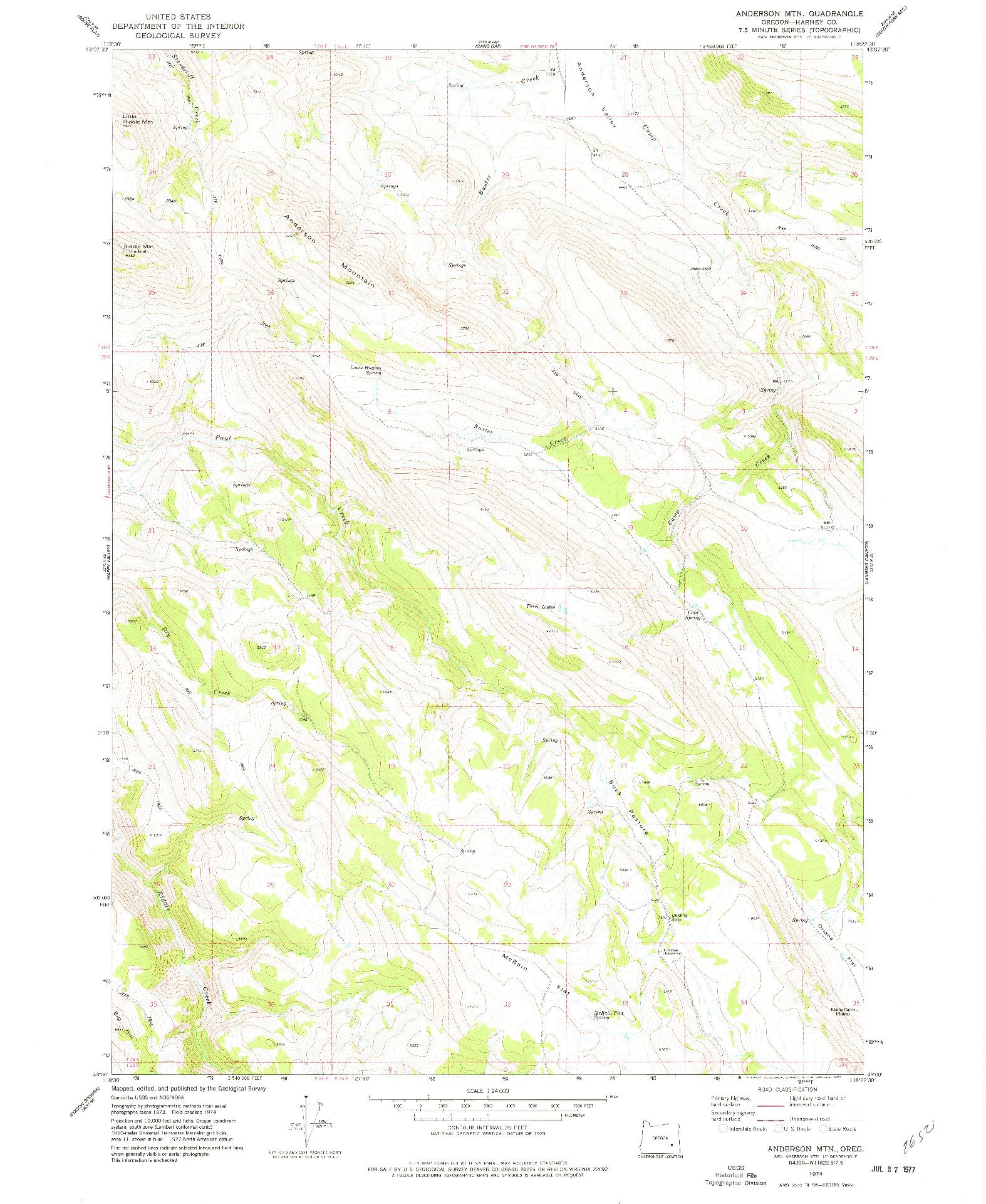 USGS 1:24000-SCALE QUADRANGLE FOR ANDERSON MTN, OR 1974